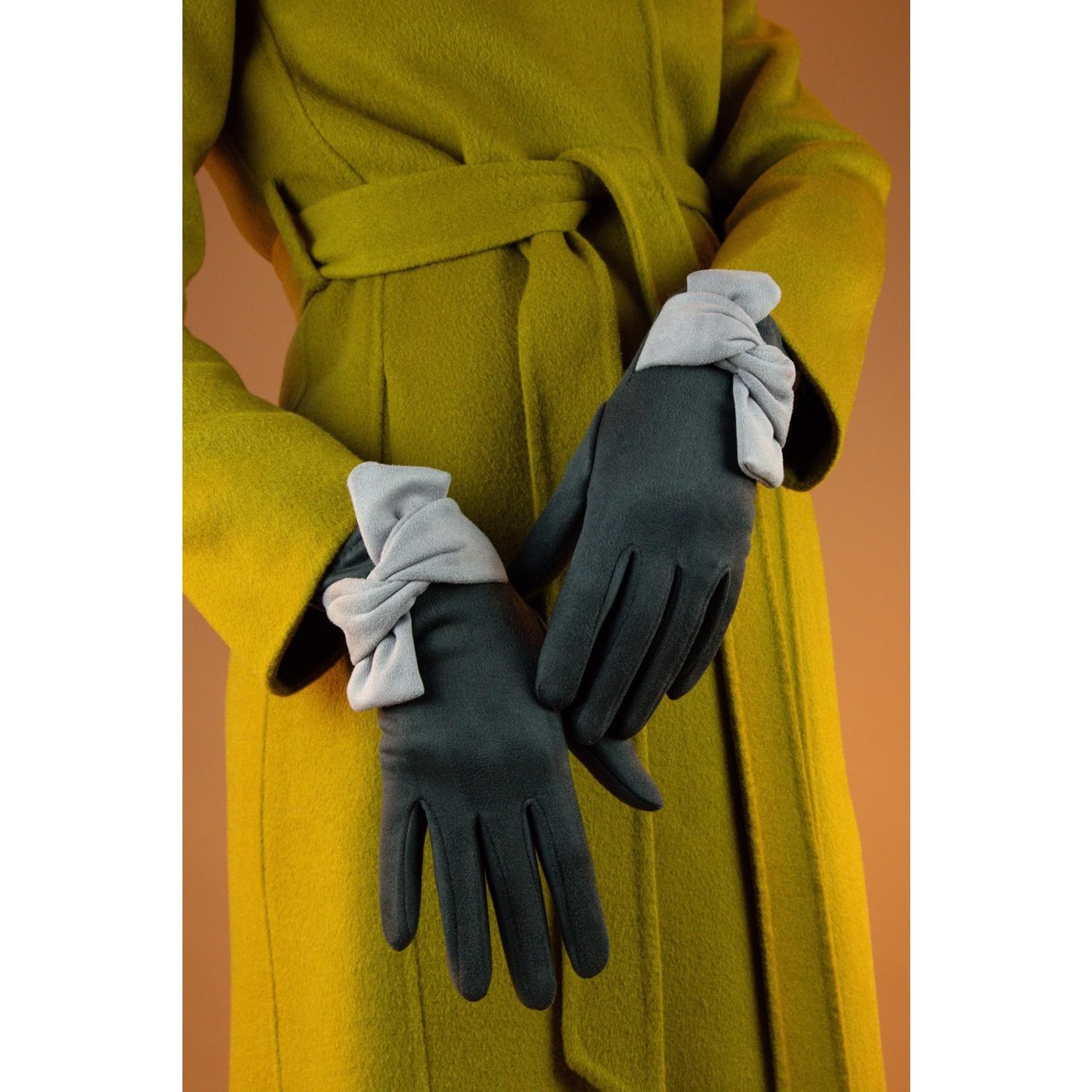Powder Henrietta Faux Suede Twist Trim Gloves in CharcoaL/Slate