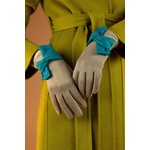 Powder Henrietta Faux Suede Twist Trim Gloves in Stone/Teal