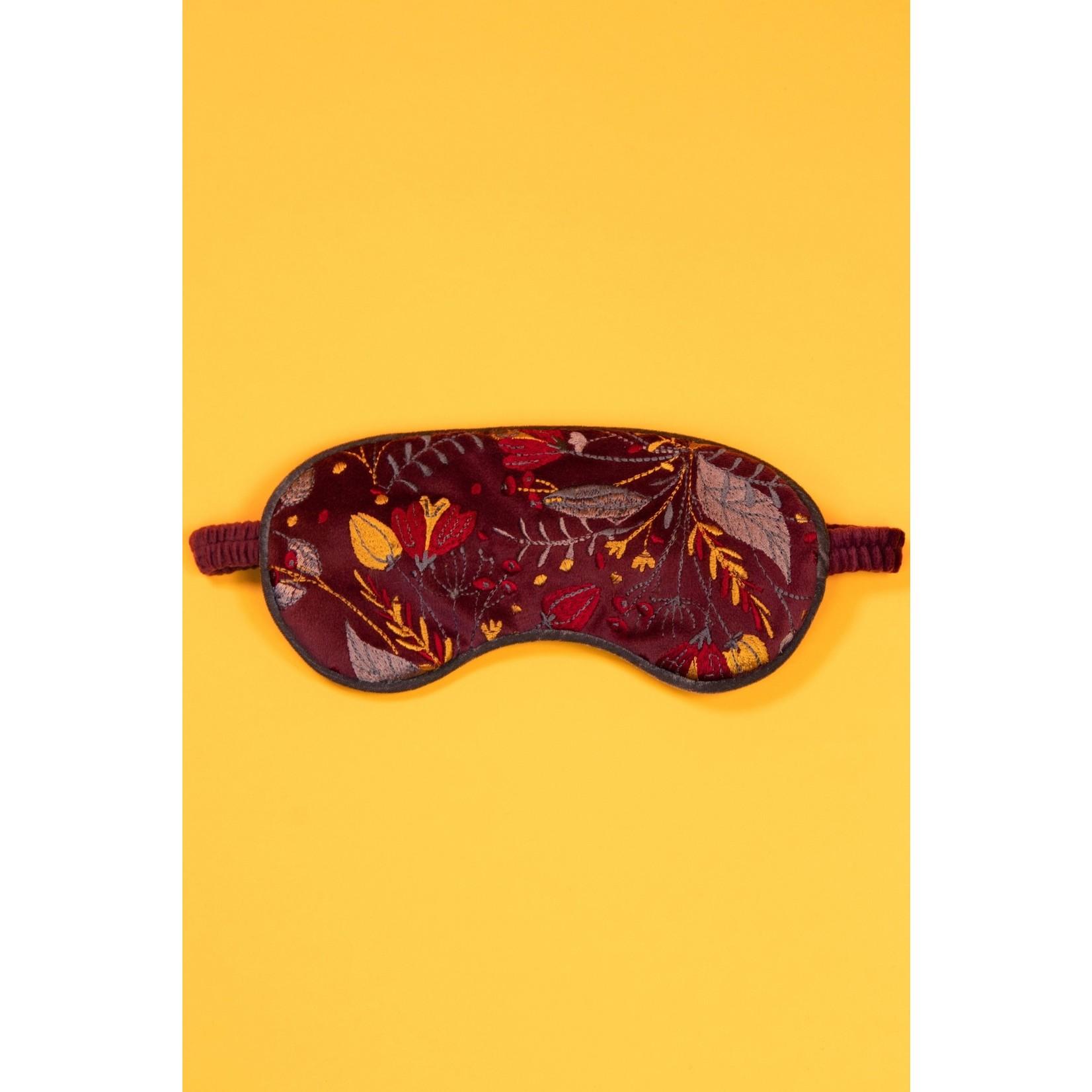 Powder Lavender Velvet Eye Mask in Floral/Damson