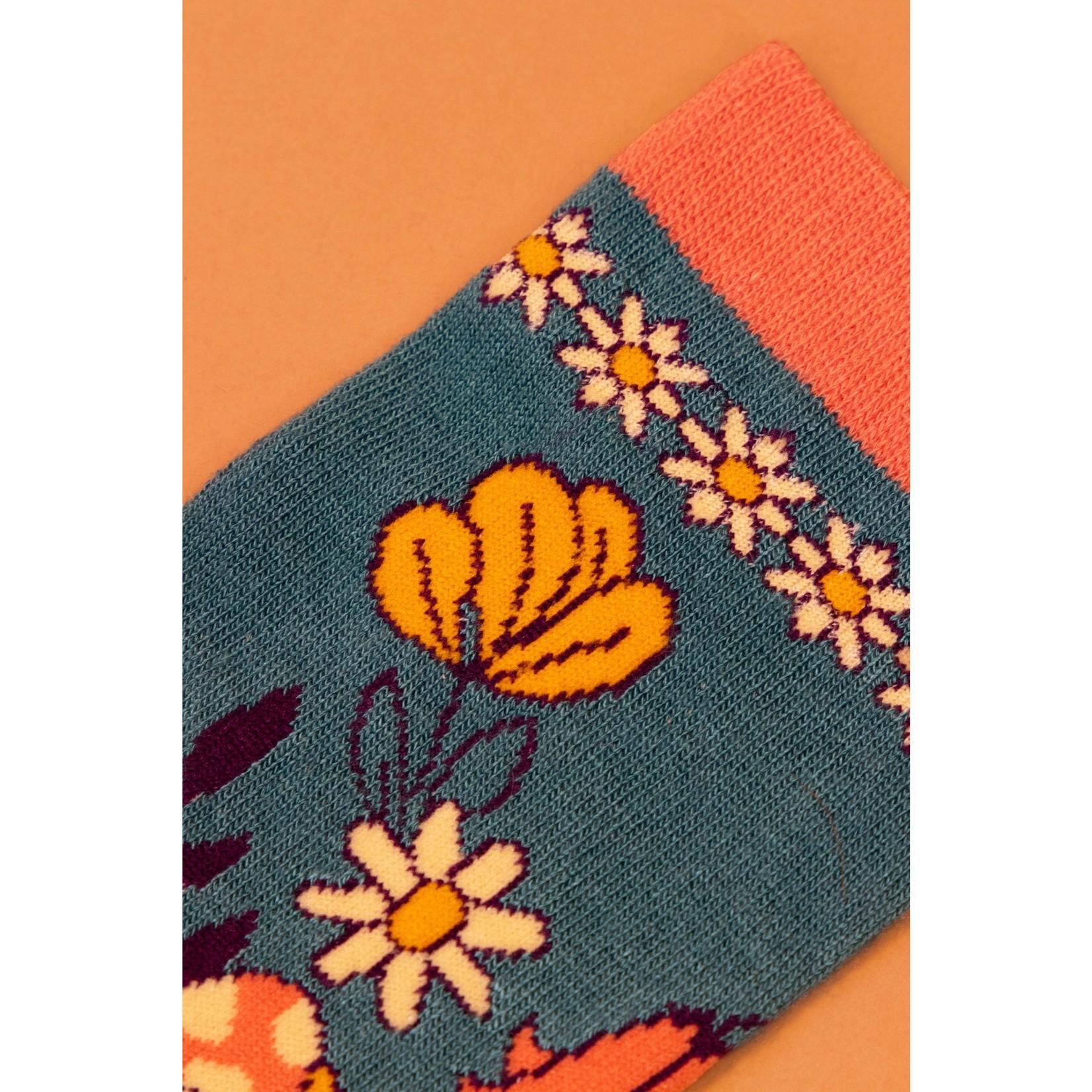 Powder Floral Ankle Socks in Teal