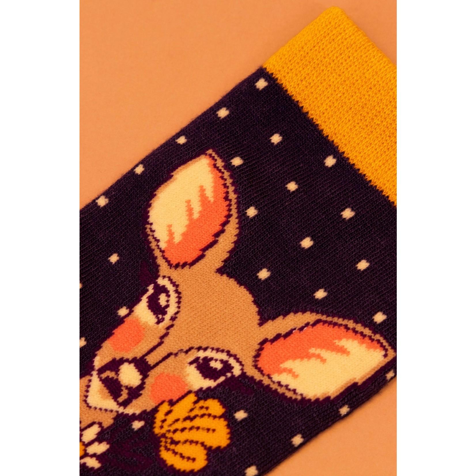 Powder Floral Deer Ankle Socks in Navy