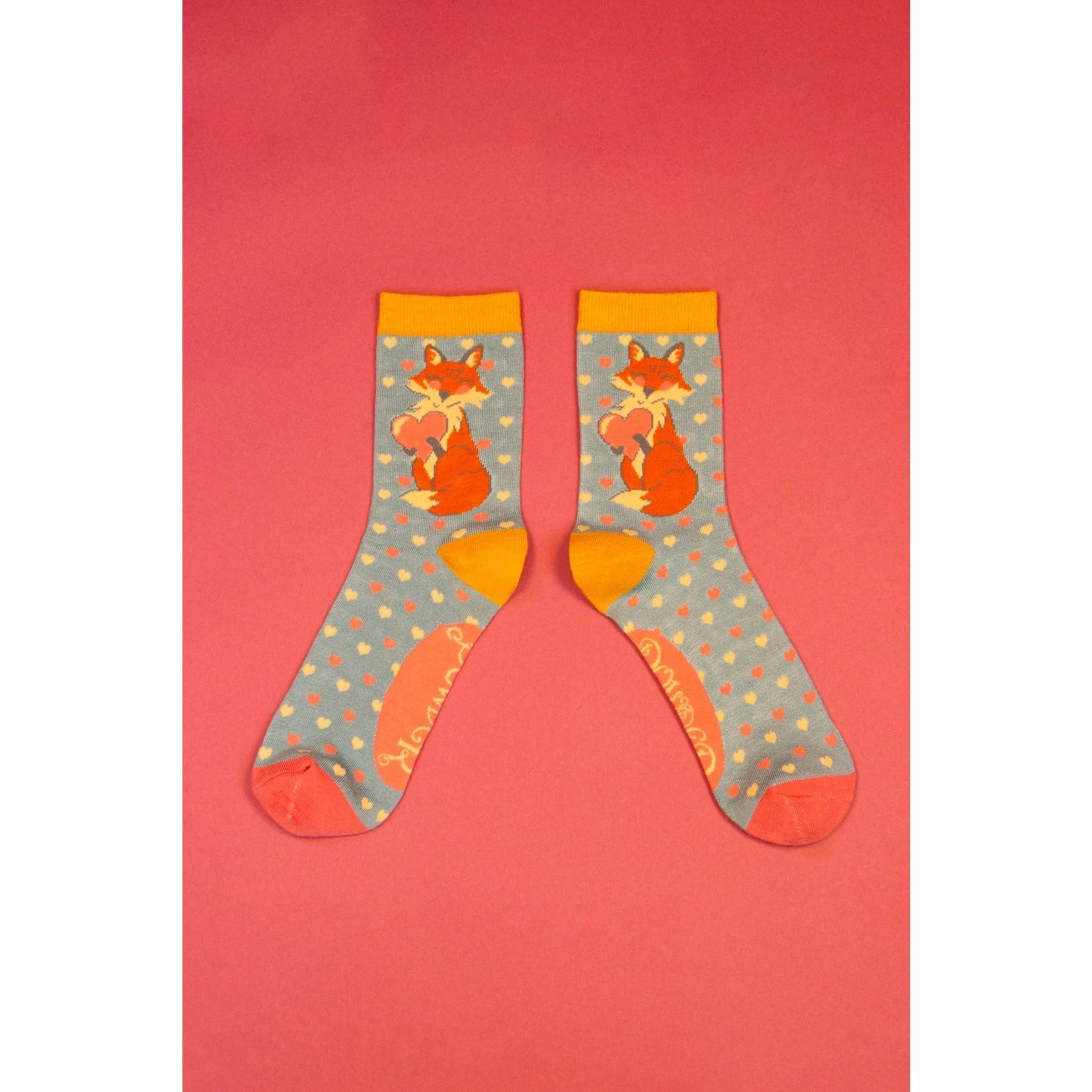 Powder Foxy Love Ankle Socks in Blue