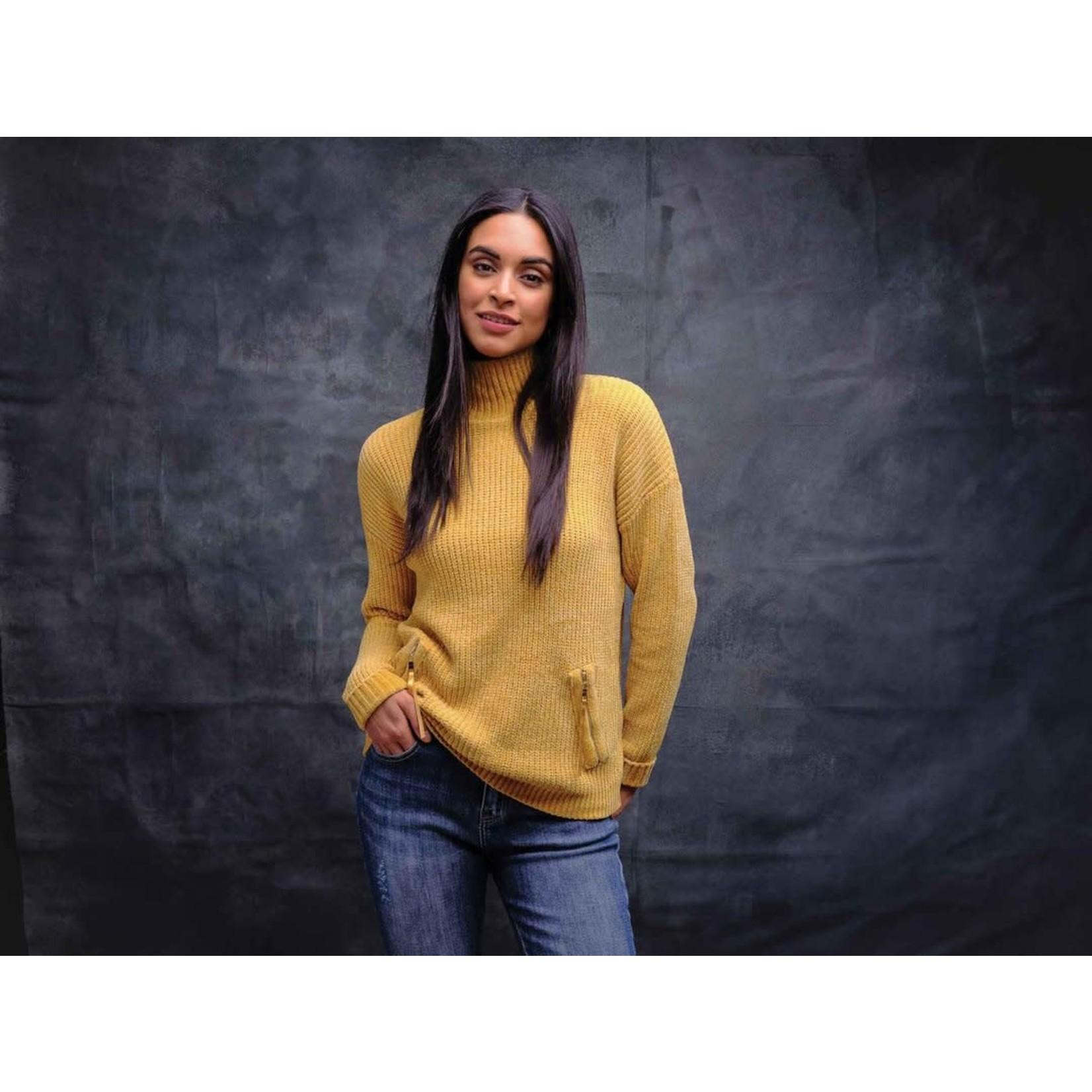Elena Wang Mock Neck Sweater W/Zipper Detail  in Mustard