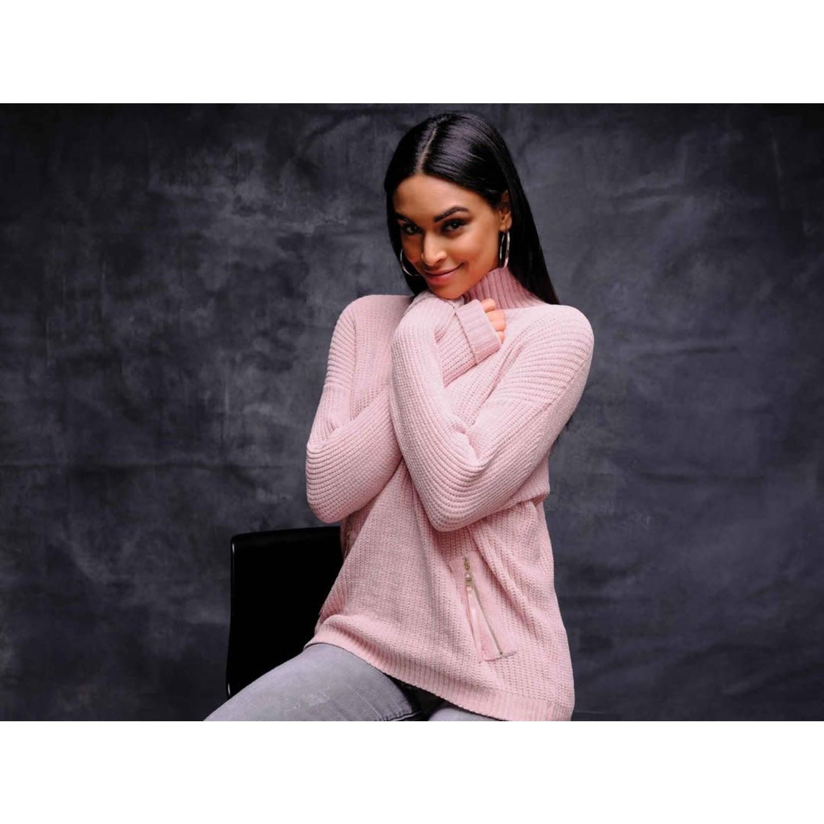 Elena Wang Mock Neck Sweater W/Zipper Detail  in Rose