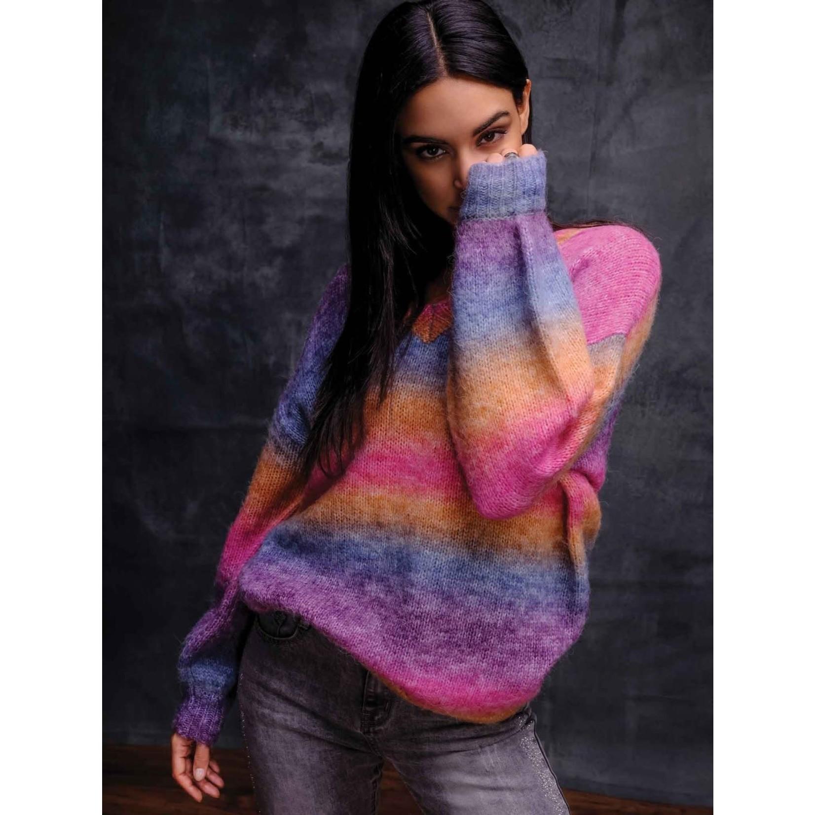 Elena Wang V-neck Wide Stripe Sweater in Multi
