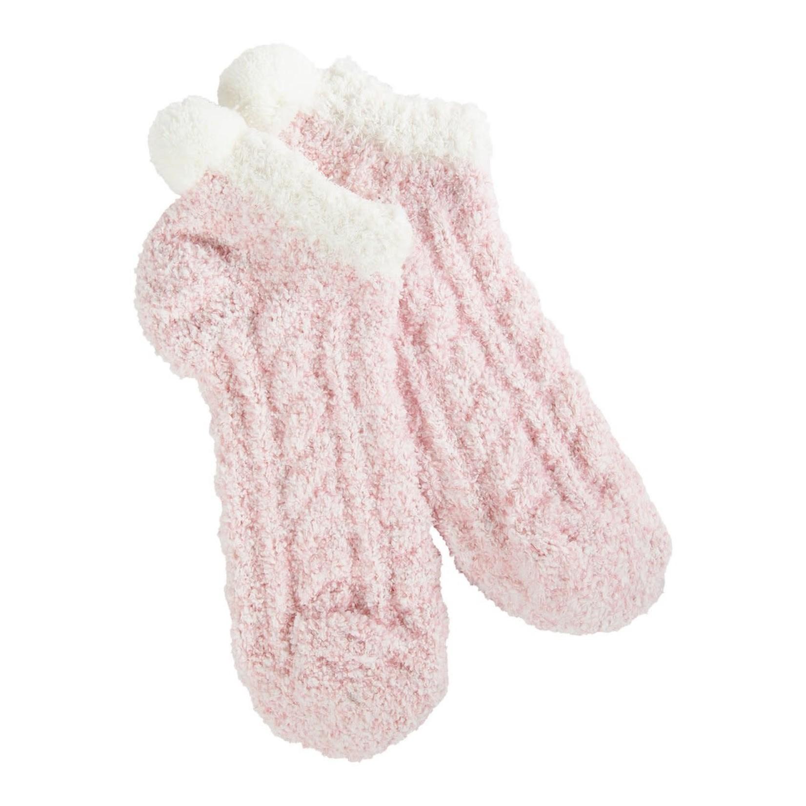 World's Softest Cozy Pom Low Socks - Adobe Rose