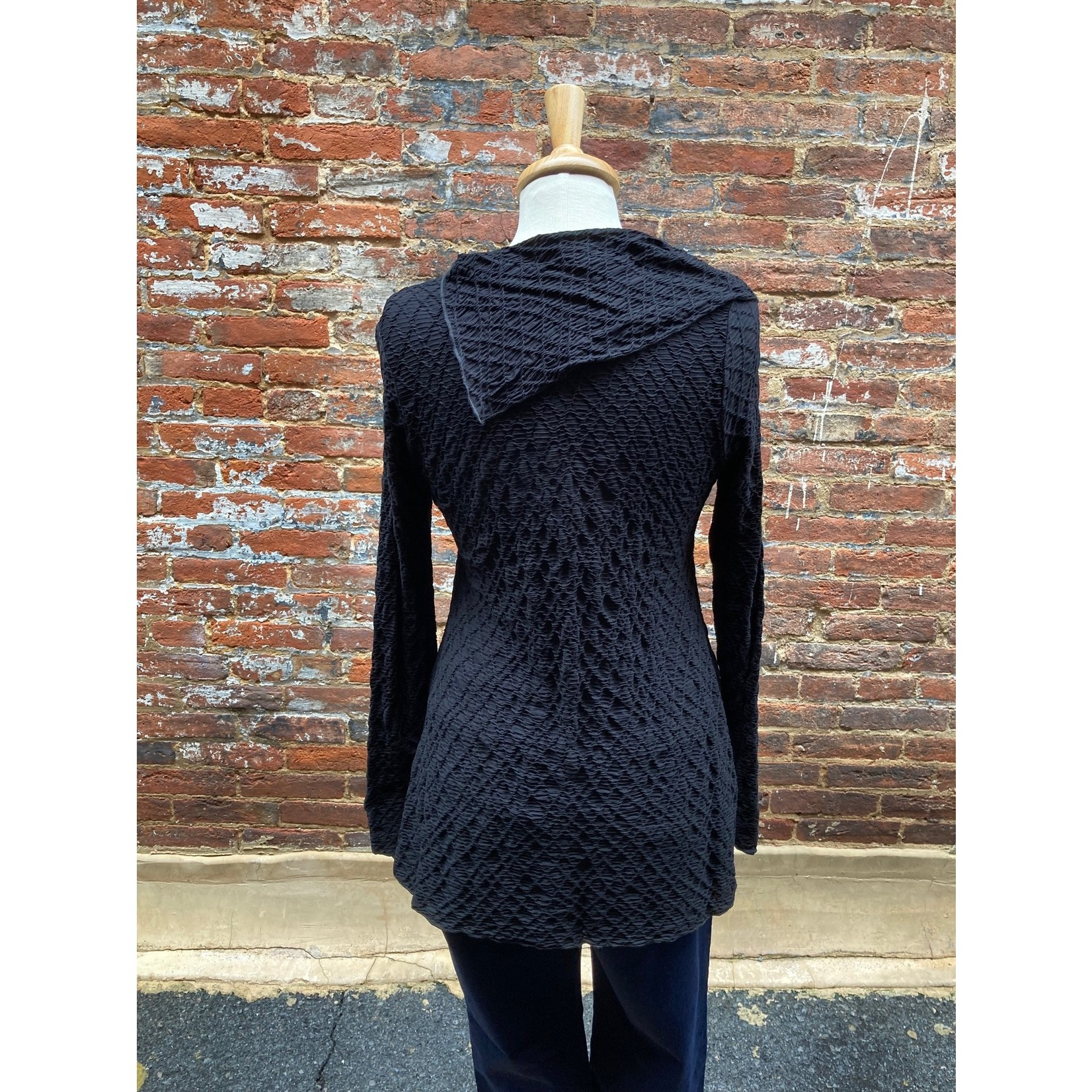 Sno Skin Dreamweaver Asymetrical Collar Top in Black