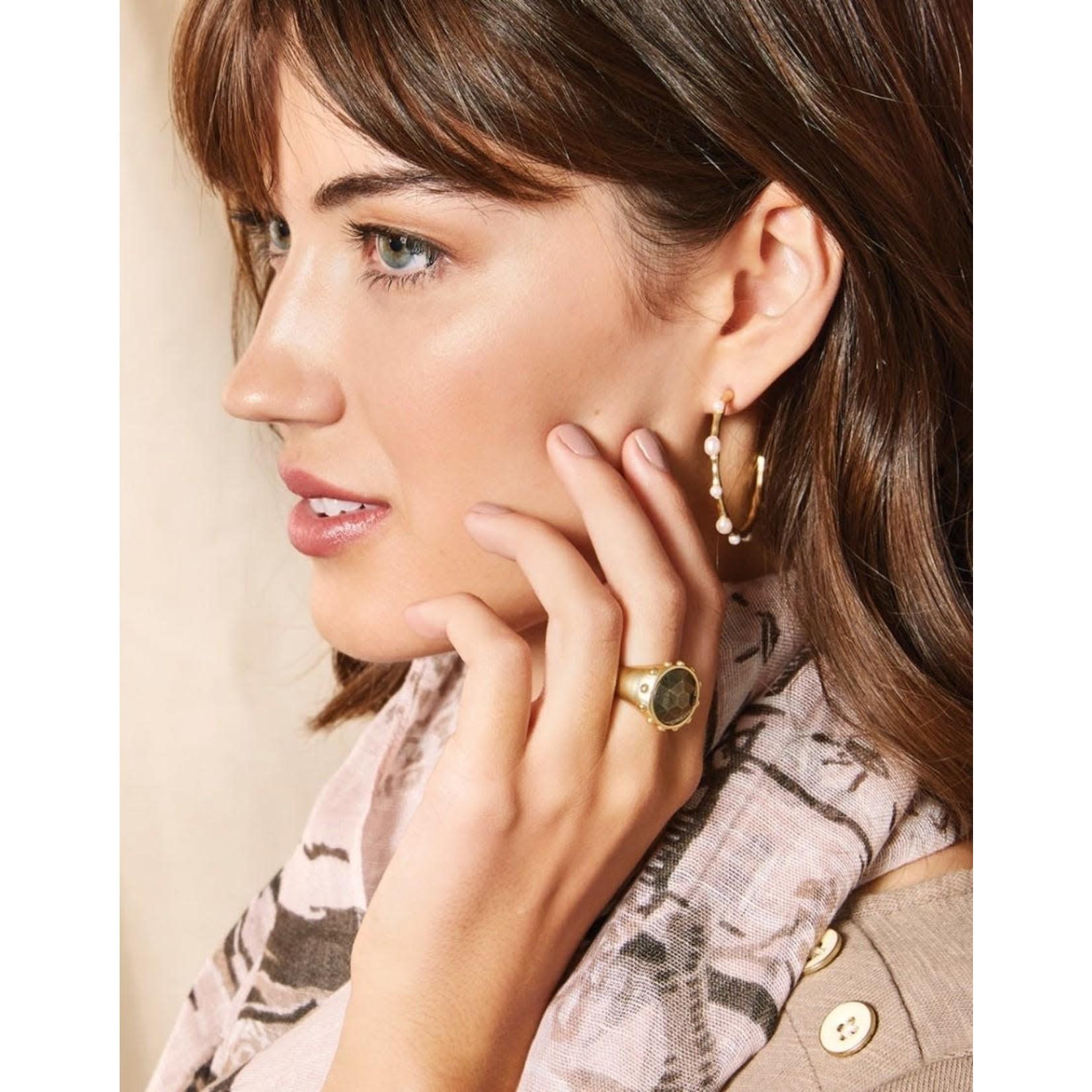 Spartina Dot Hoop Earrings in Pearl