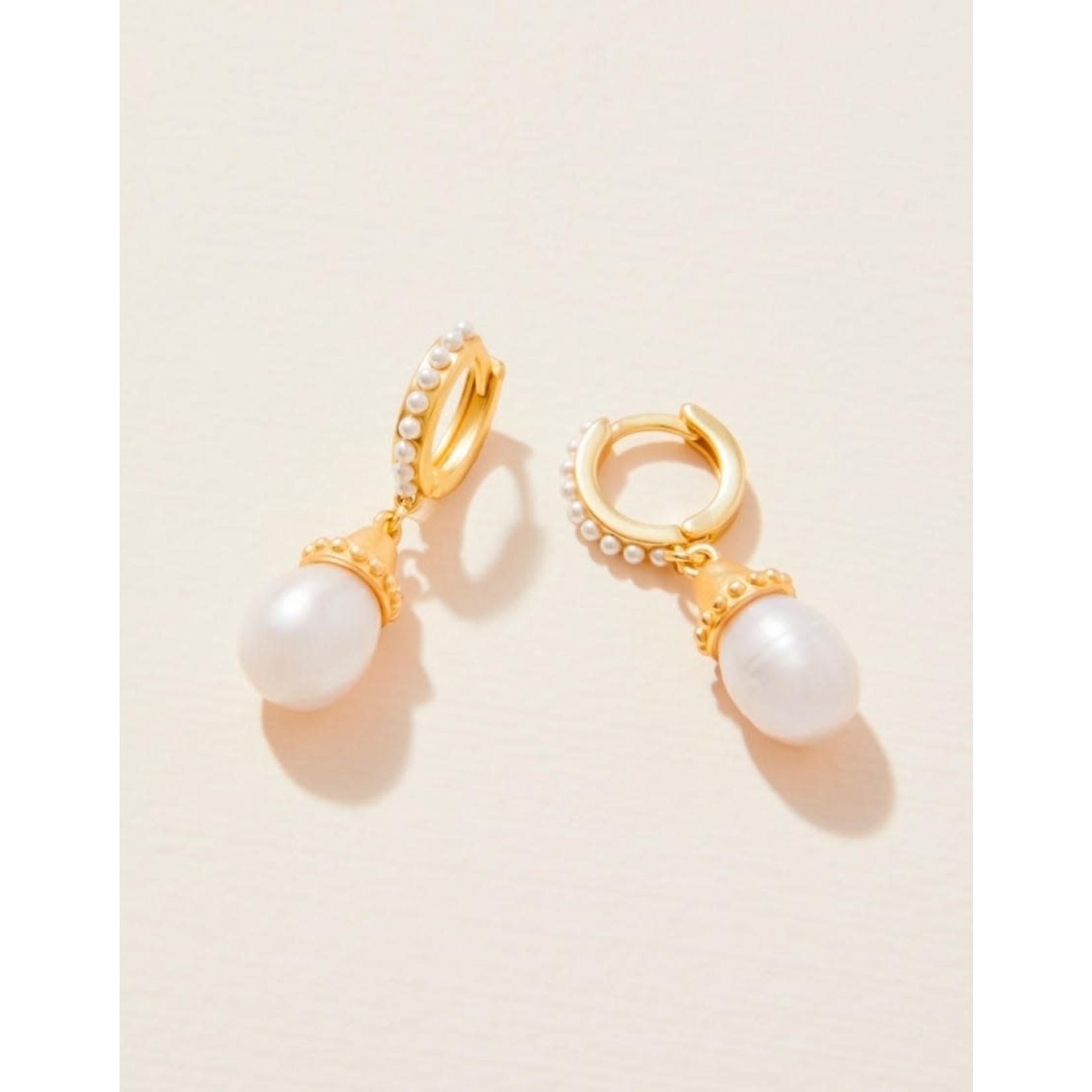 Spartina Drop Hoop Earrings in Pearl