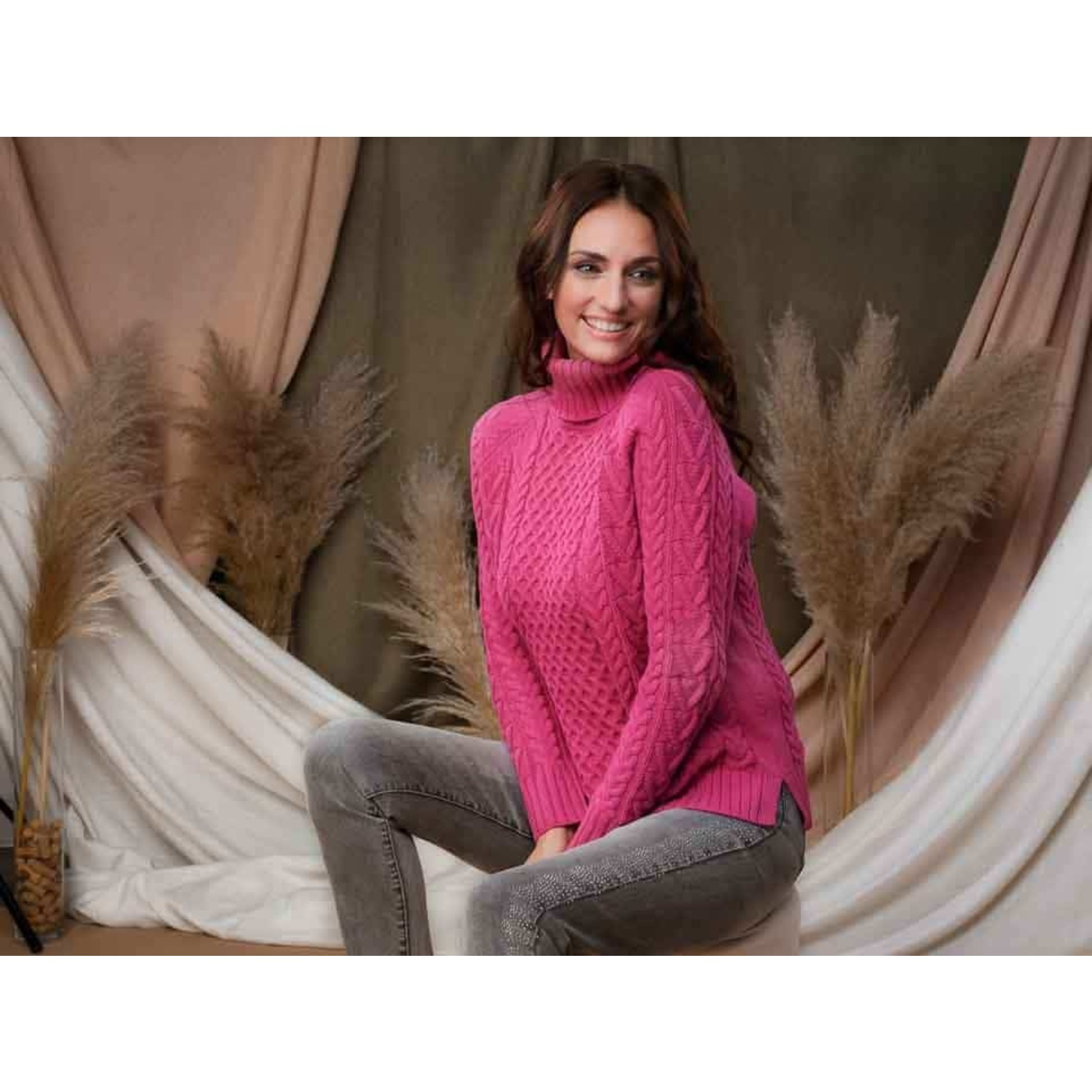 Cable Turtleneck Sweater in Fuchsia