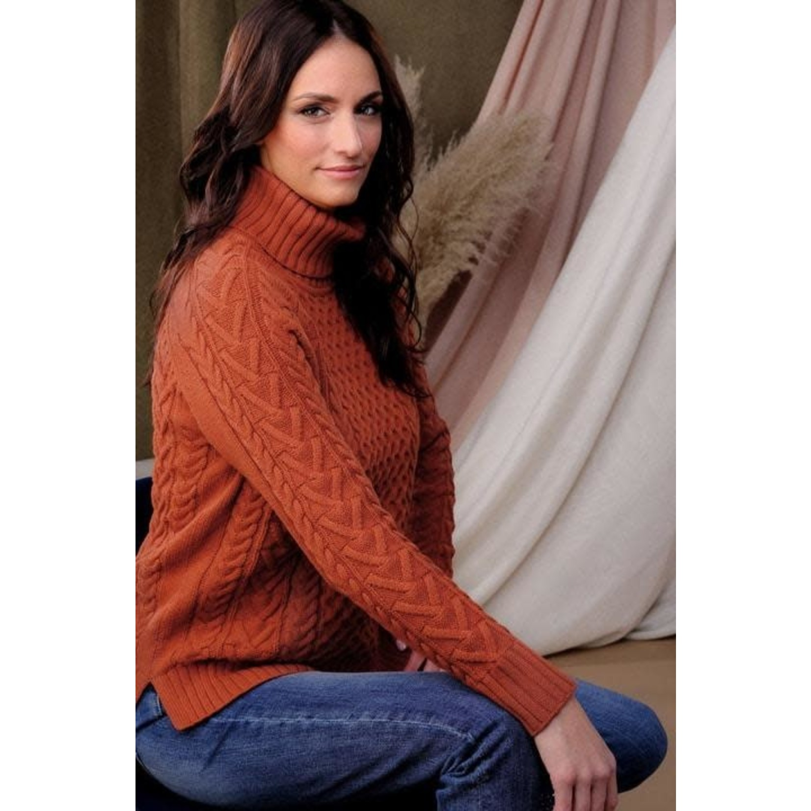 Cable Turtleneck Sweater in Rust