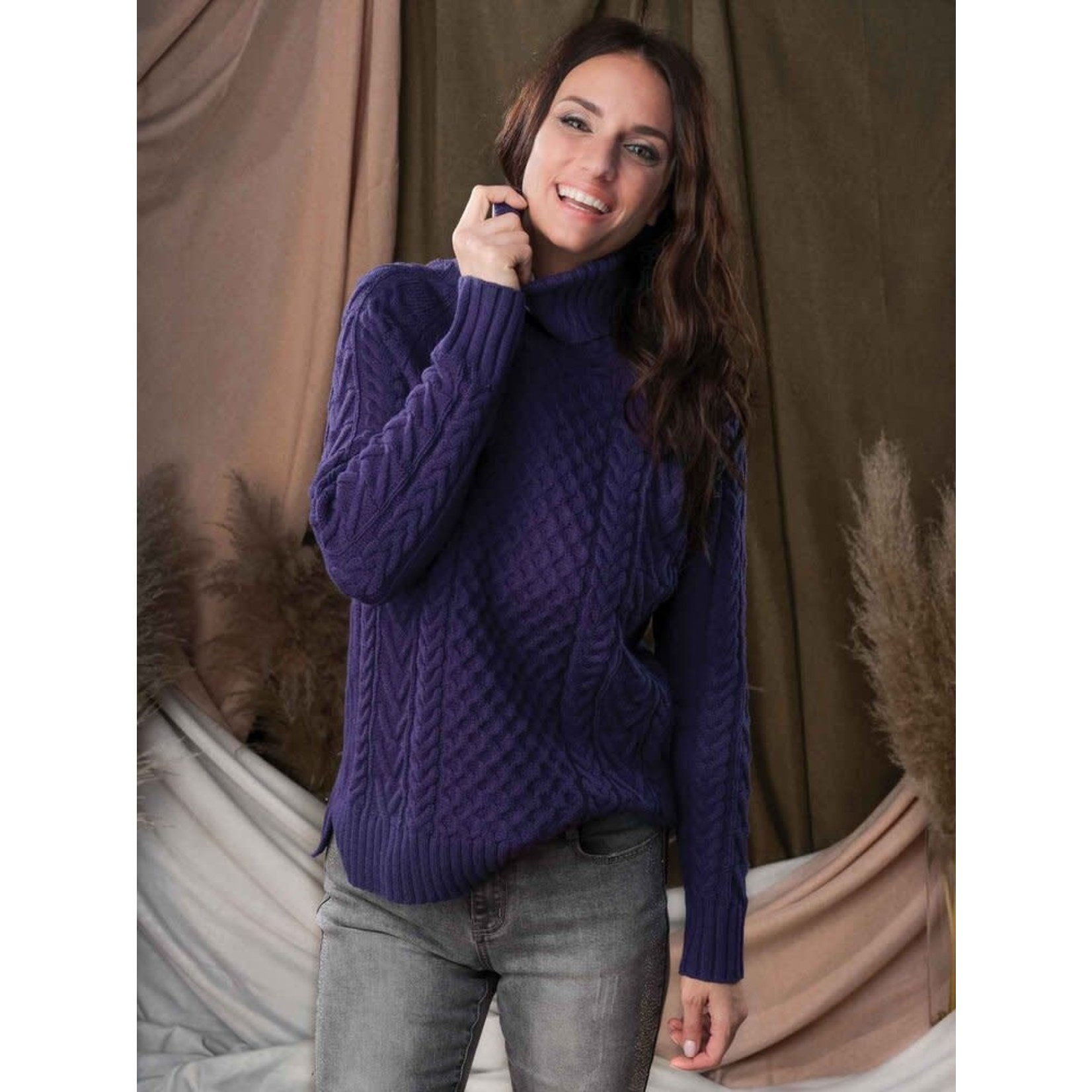 Cable Turtleneck Sweater in Violet