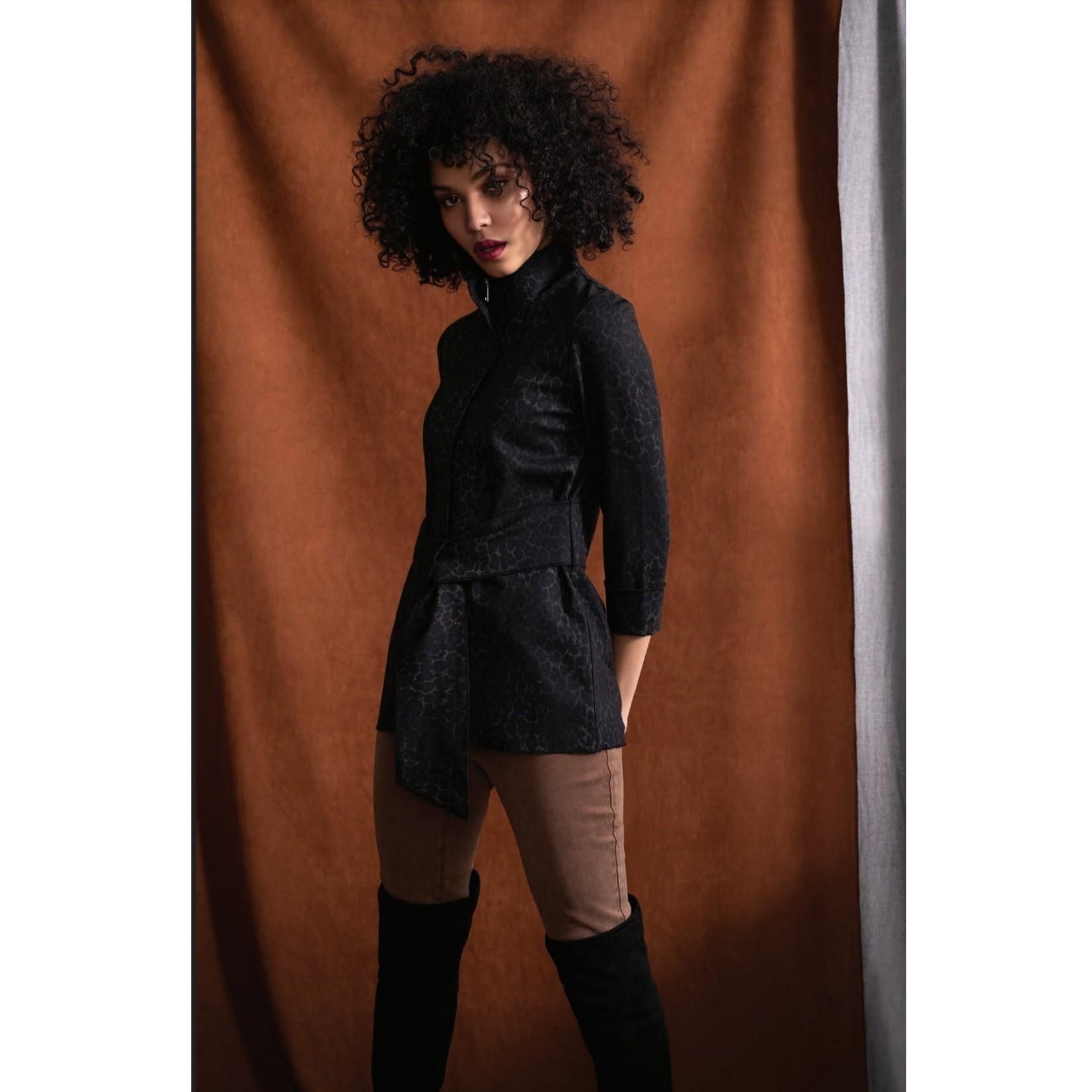 Woven Sashed Animal Print Jacket in Black