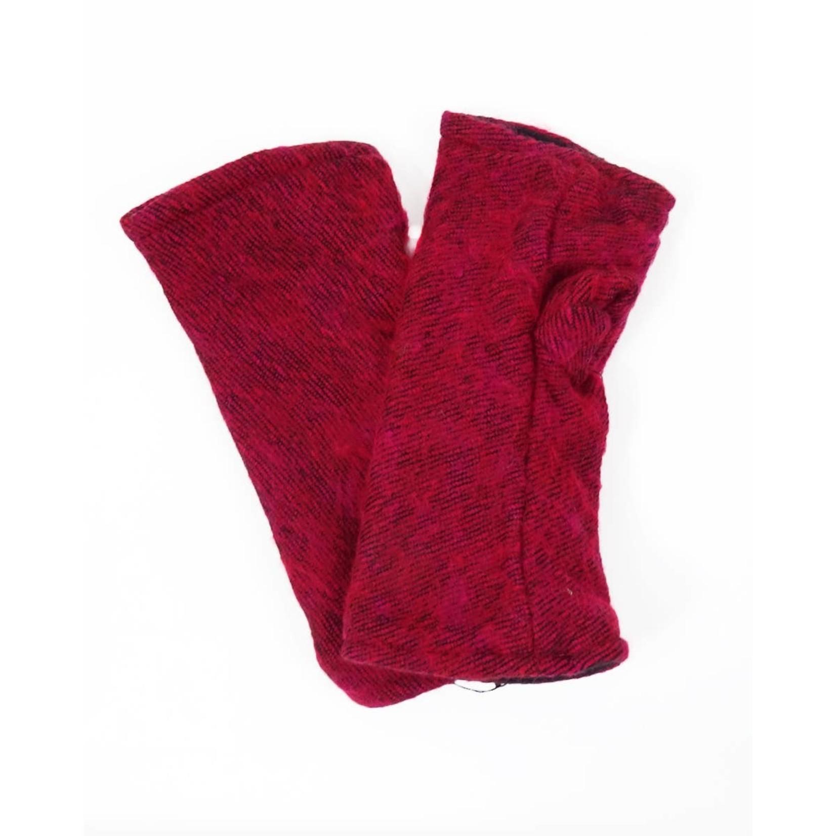 Zig Zag Asian Brushed Woven Fingerless Gloves in Raspberry