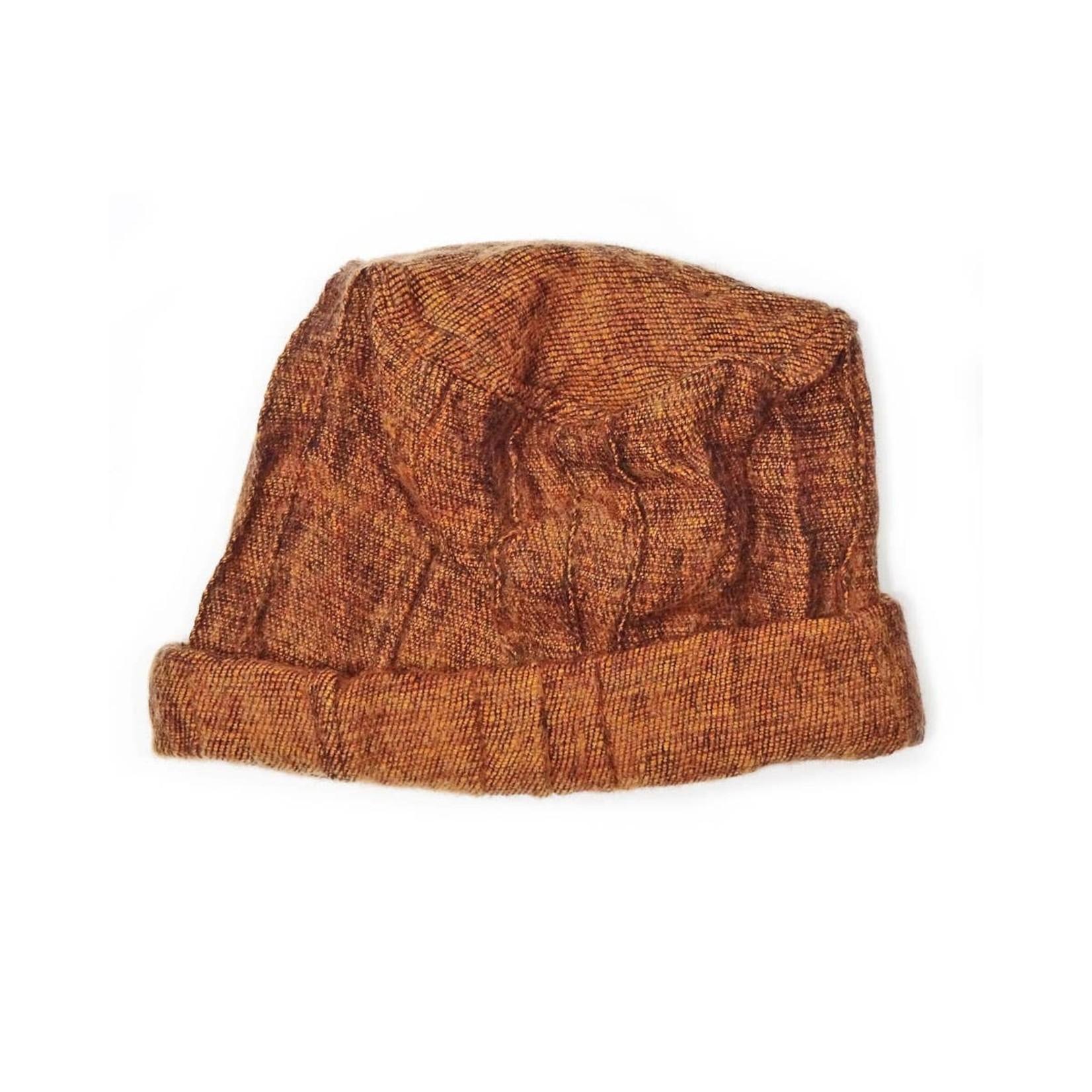 Zig Zag Asian Brushed Woven Pashtun Hat in Cinnamon