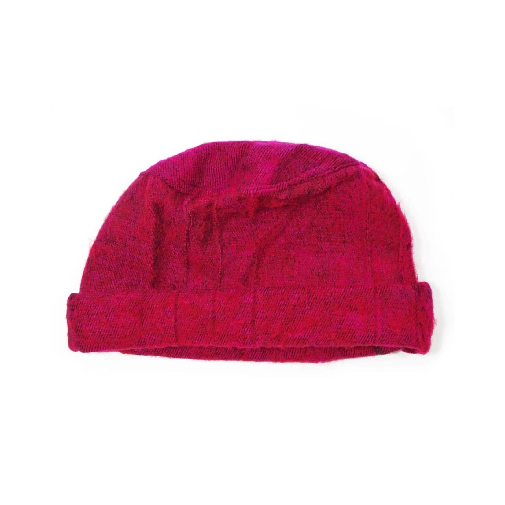Zig Zag Asian Brushed Woven Pashtun Hat in Raspberry