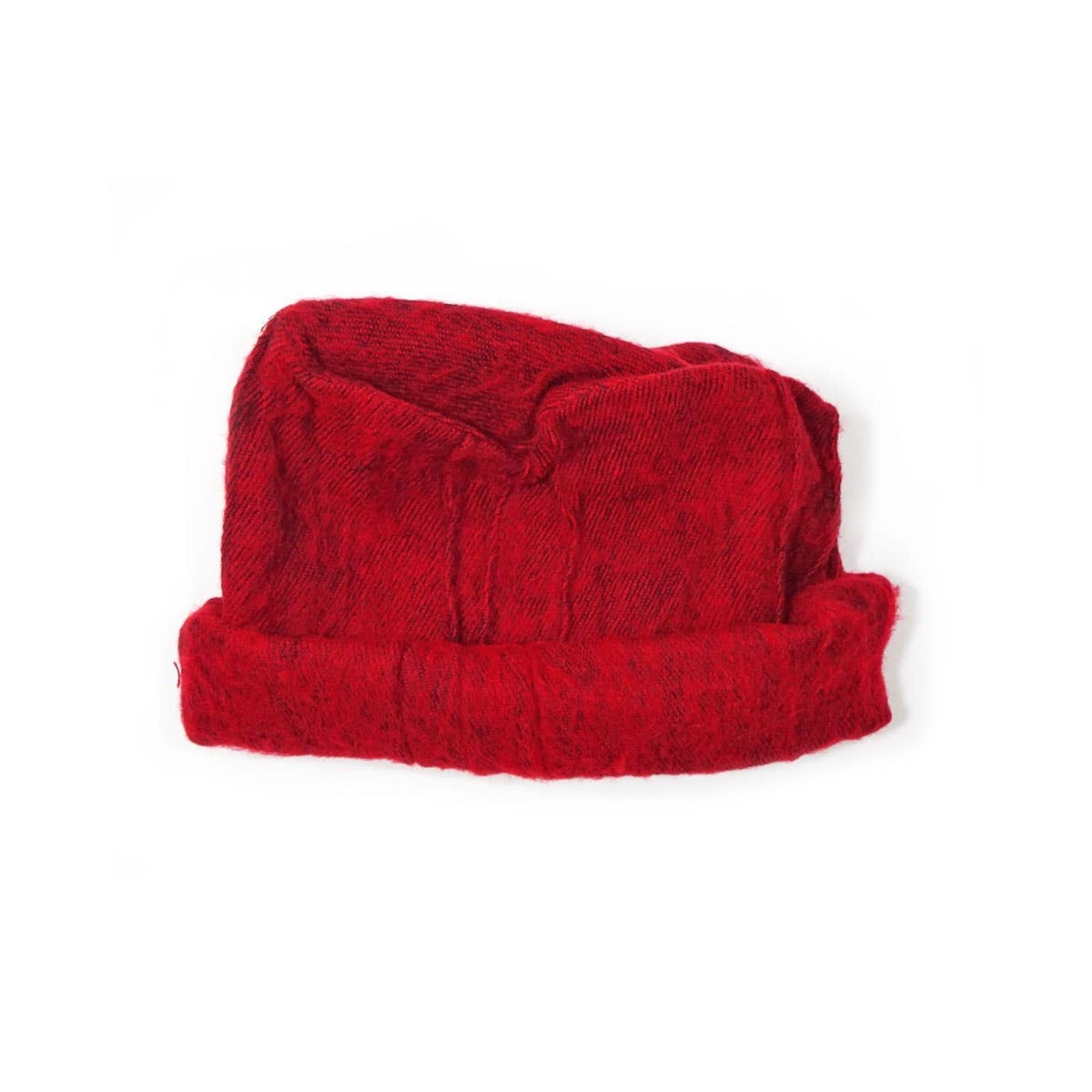 Zig Zag Asian Brushed Woven Pashtun Hat in Red