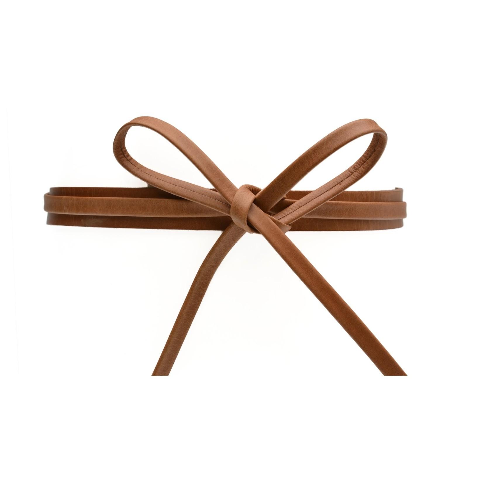 ADA Skinny Leather Wrap Belt in Cognac