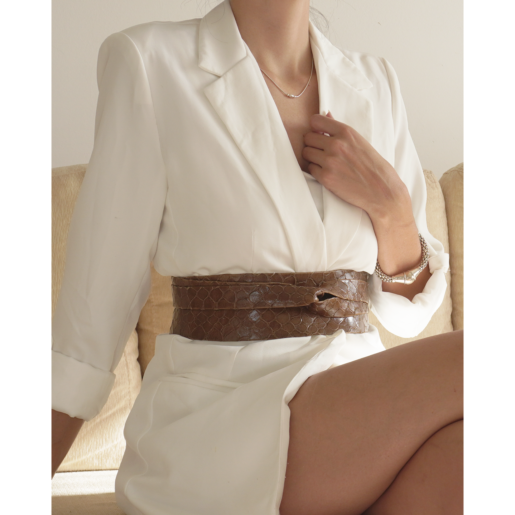 ADA Original Leather Wrap Belt in Choc Tortoise