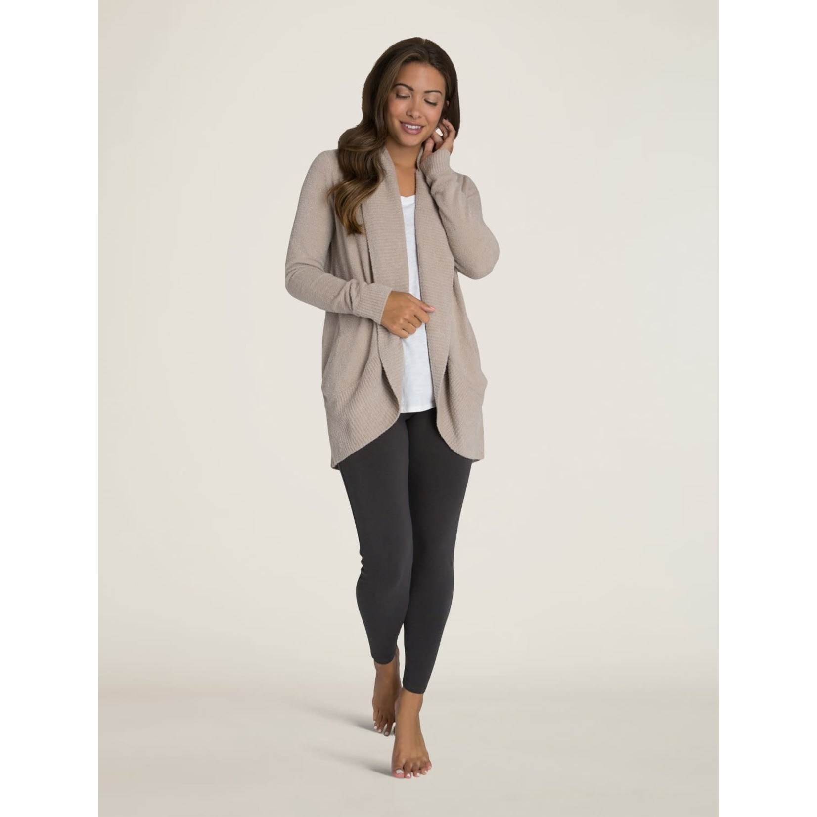 Barefoot Dreams CozyChic Lite Circle Cardi in Taupe