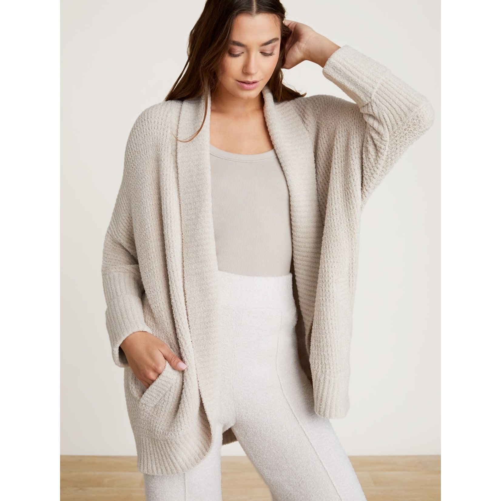 Barefoot Dreams CozyChic Lite Waffle Cocoon Cardi in Stone