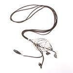 Suzie Blue Canada Long Leaf Pendant Necklace On Grey Suede