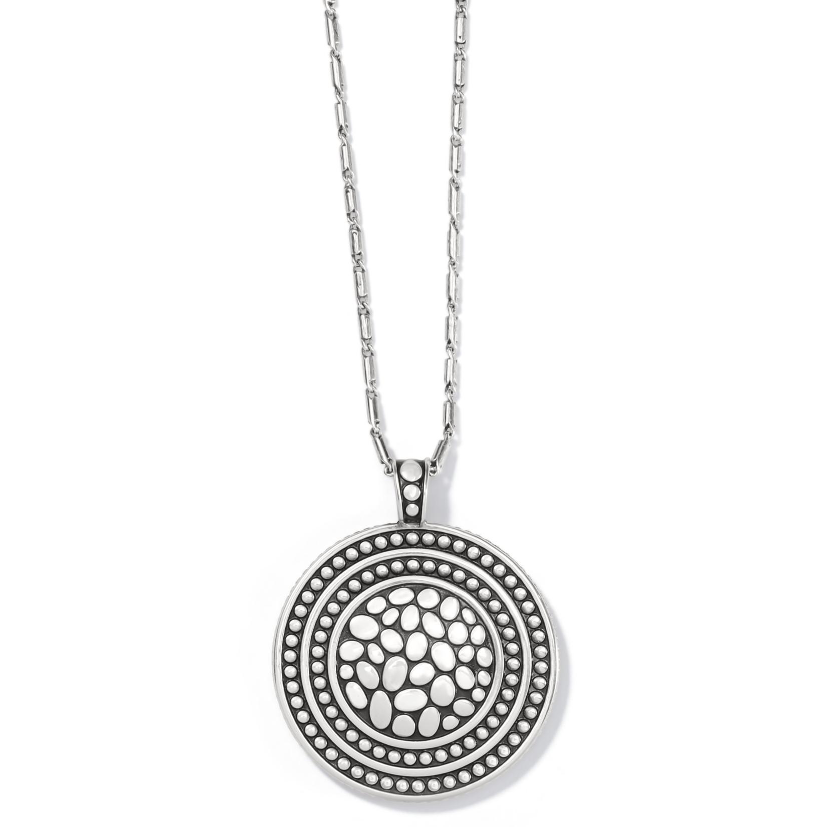 Brighton Pebble Round Cov Rev Necklace Silver OS