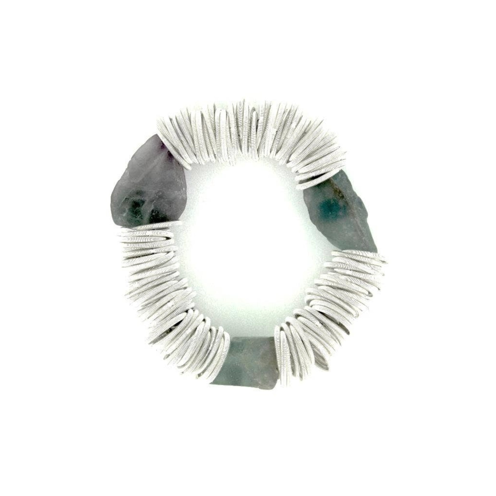 Sea Lily White PW Spring Ring Bracelet w/ Raw Fluorite Stones