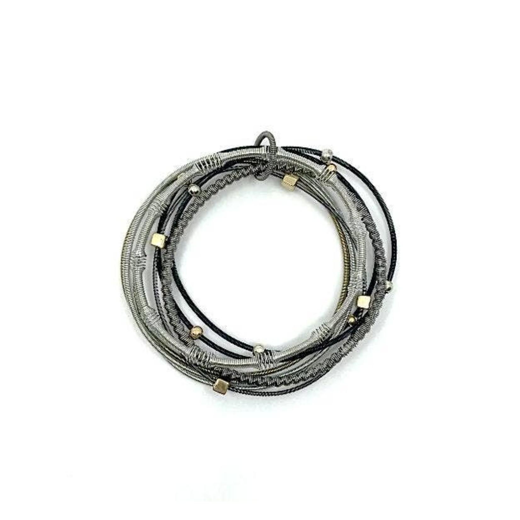 Sea Lily Silver/Slate PW Multi Textured Strand Bracelet