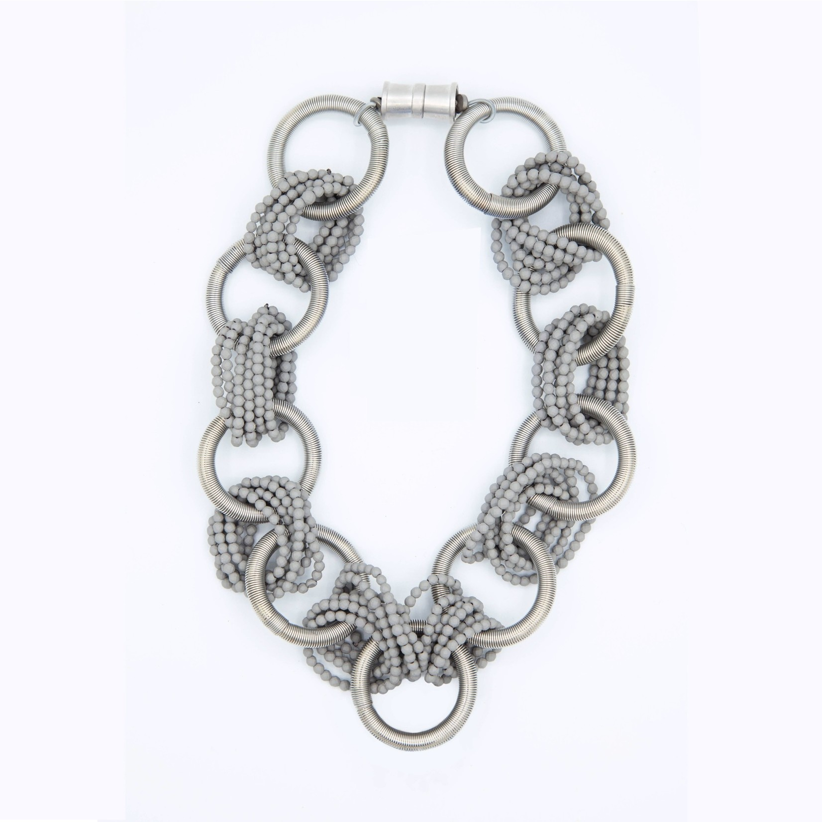 Sea Lily Silver Piano Wire Rings Necklace  w/Connecting Grey Beads