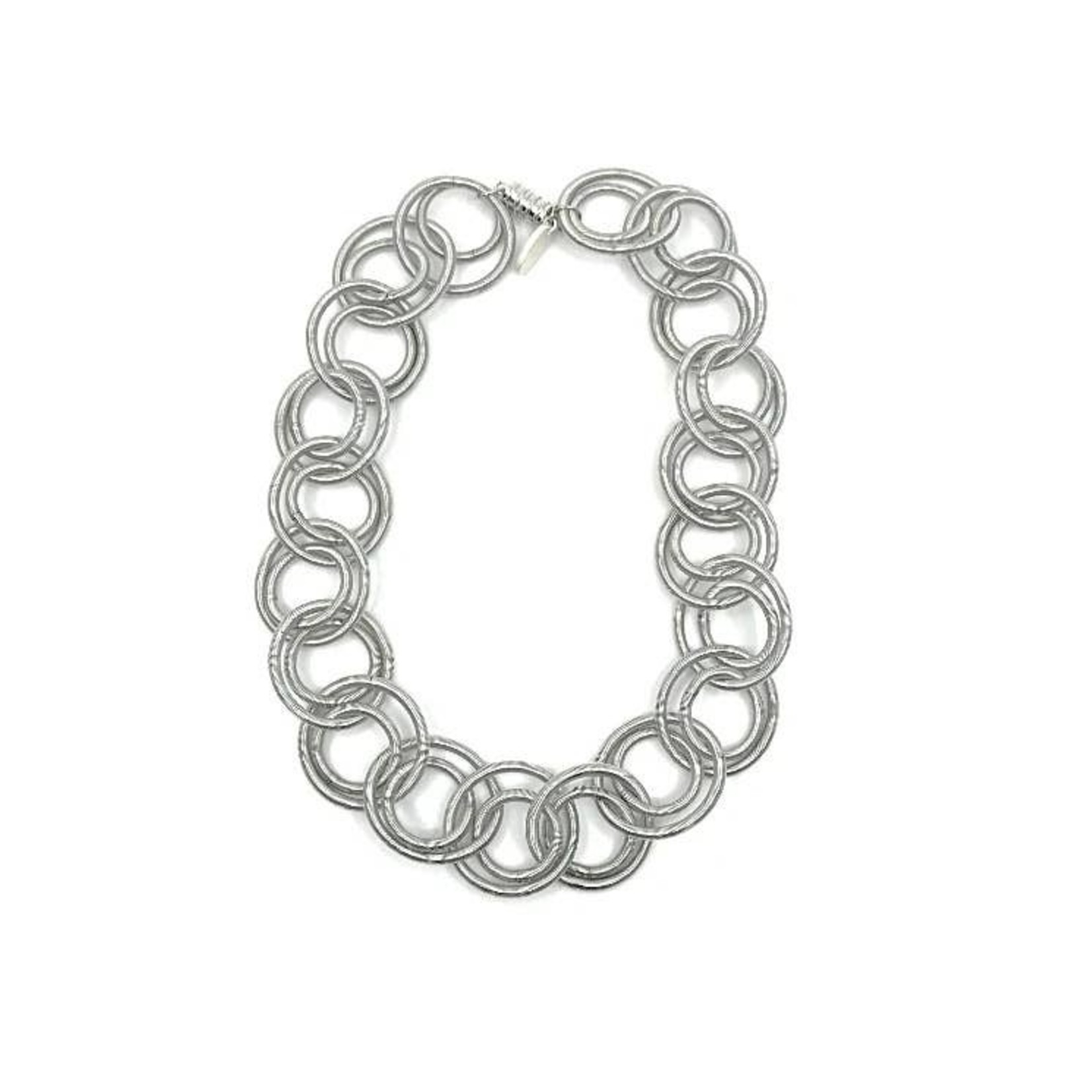 Sea Lily Silver PW Large Loop Short Necklace w/Magnet Closure