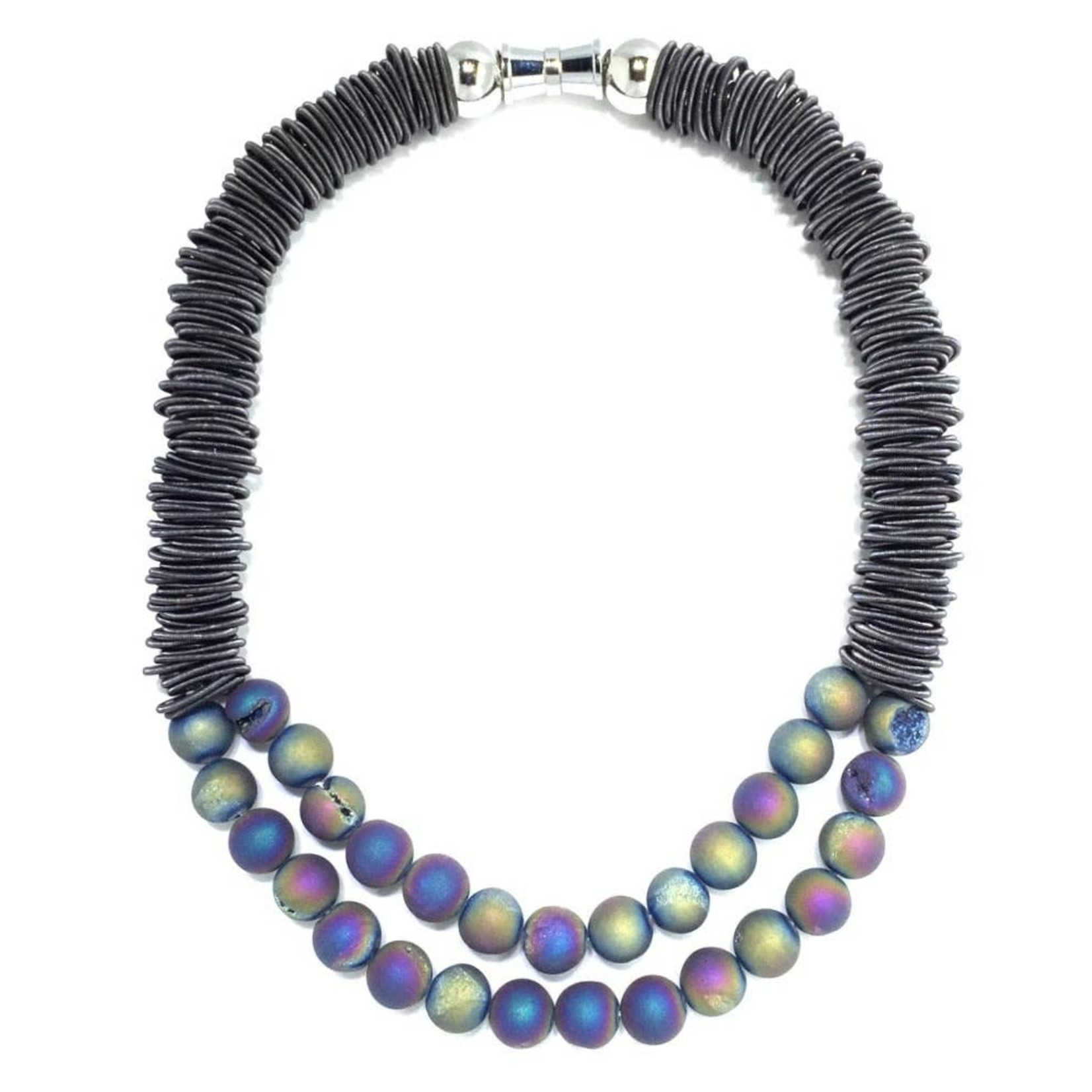 Sea Lily Slate PW Spring Ring Necklace w/ Iridescent Geodes