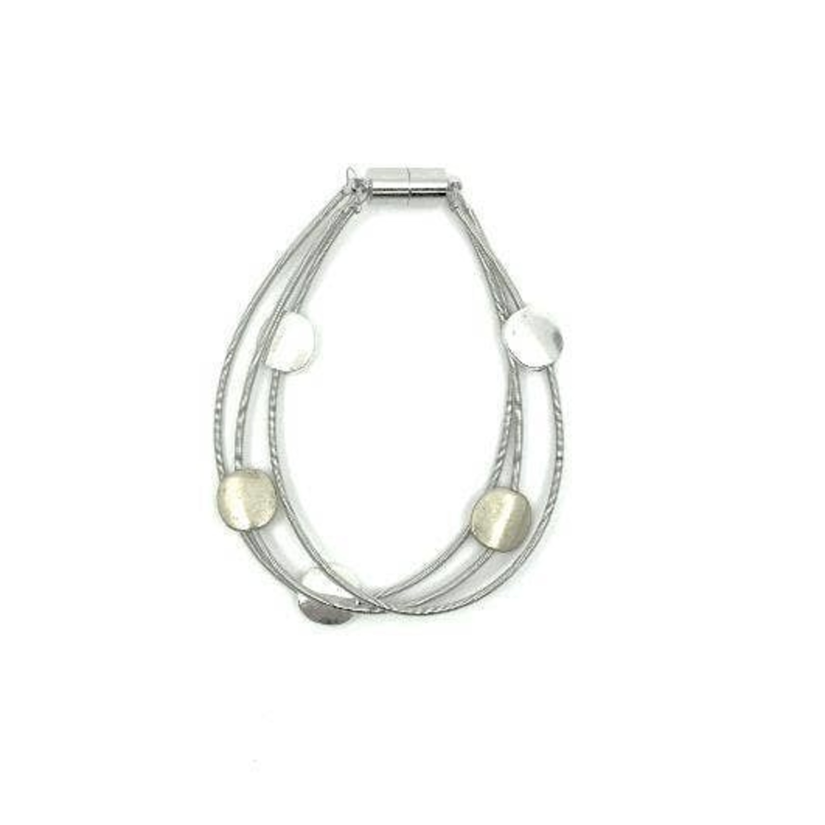 Sea Lily Silver PW 3 Strand Bracelet w/ Gold/Slvr Discs