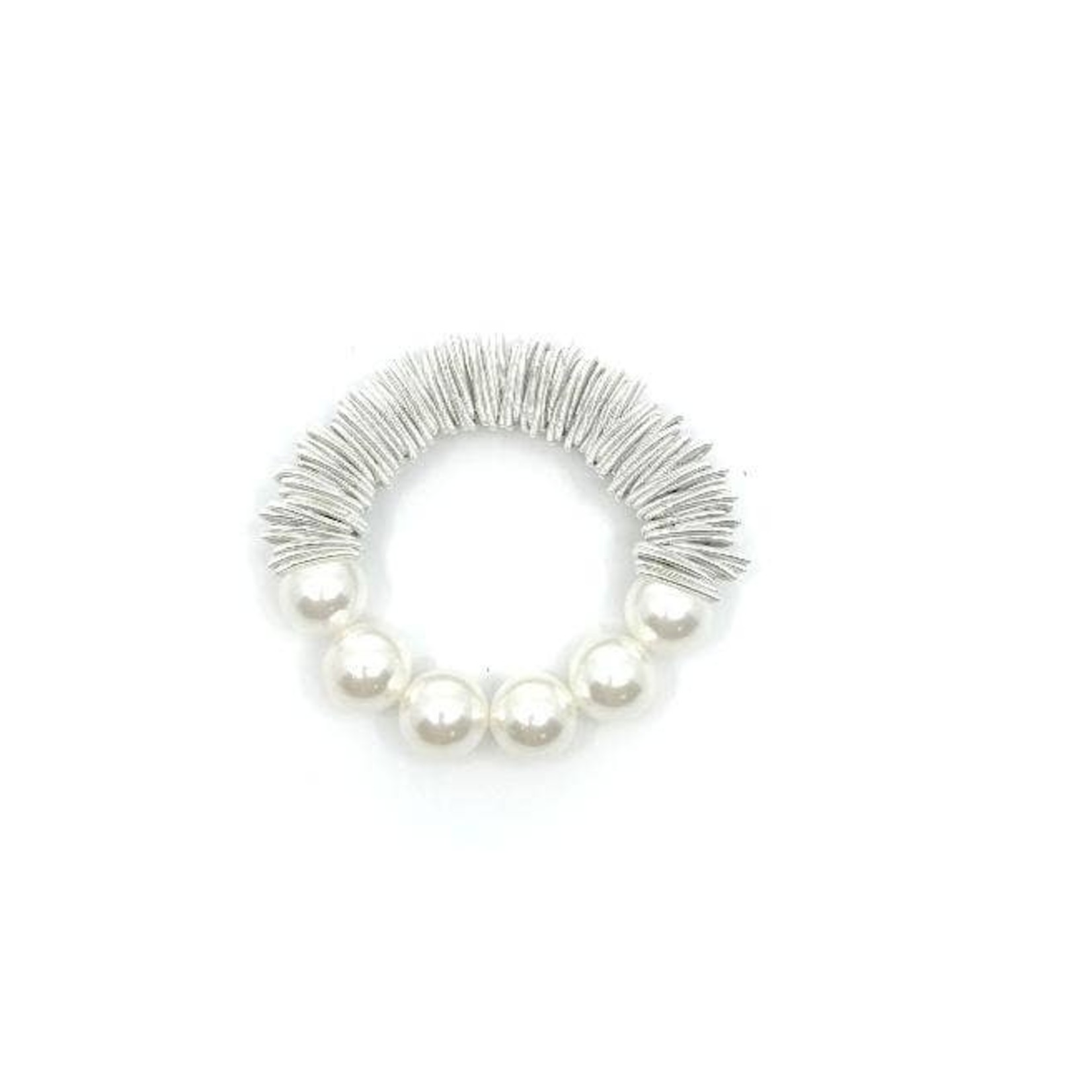 Sea Lily White PW Spring Ring Bracelet w/ Mother of Pearls