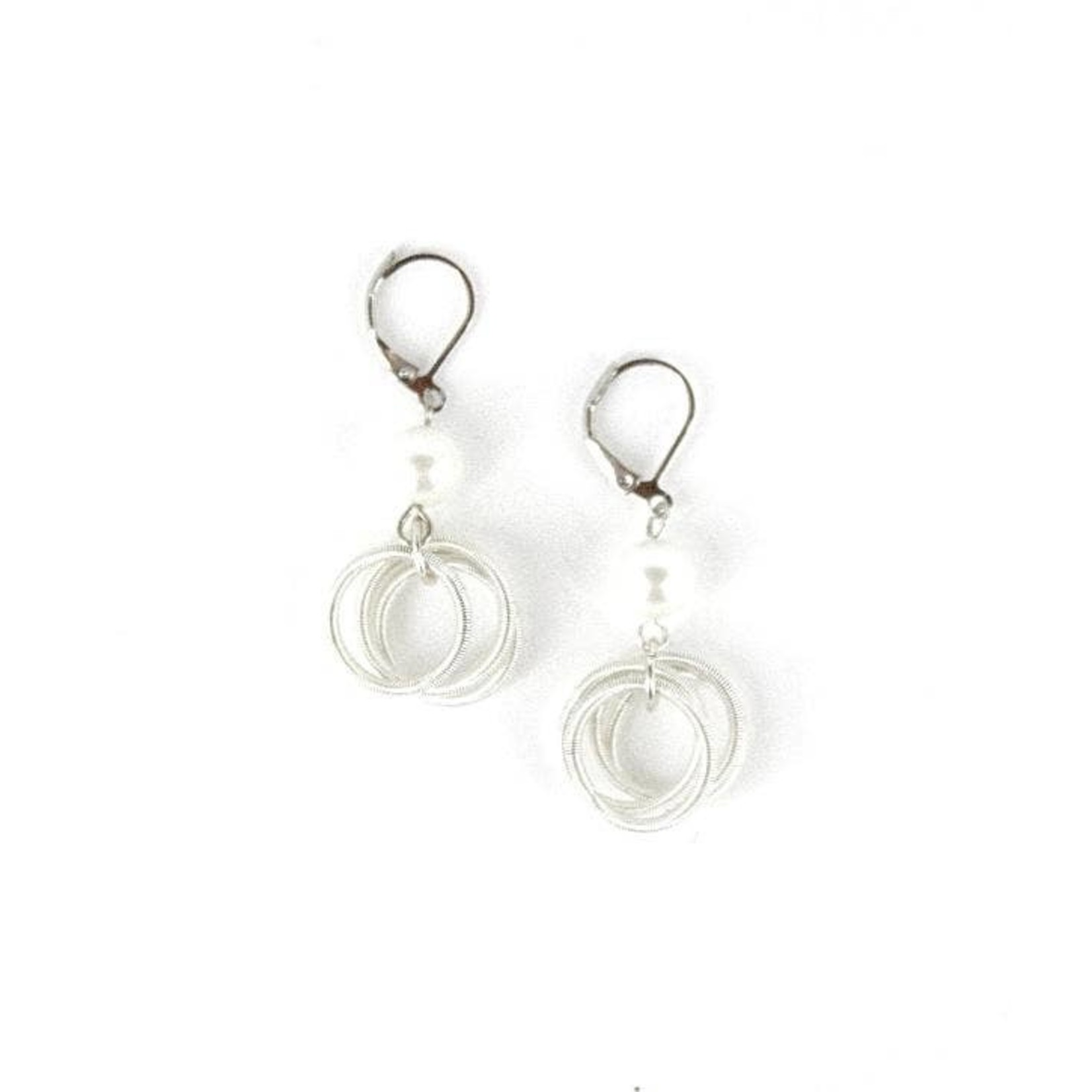 Sea Lily White Piano Wire Loop Earrings w/ White Pearl
