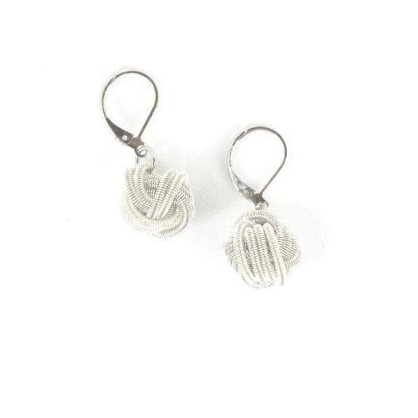 Sea Lily White Piano Wire Knot Earrings