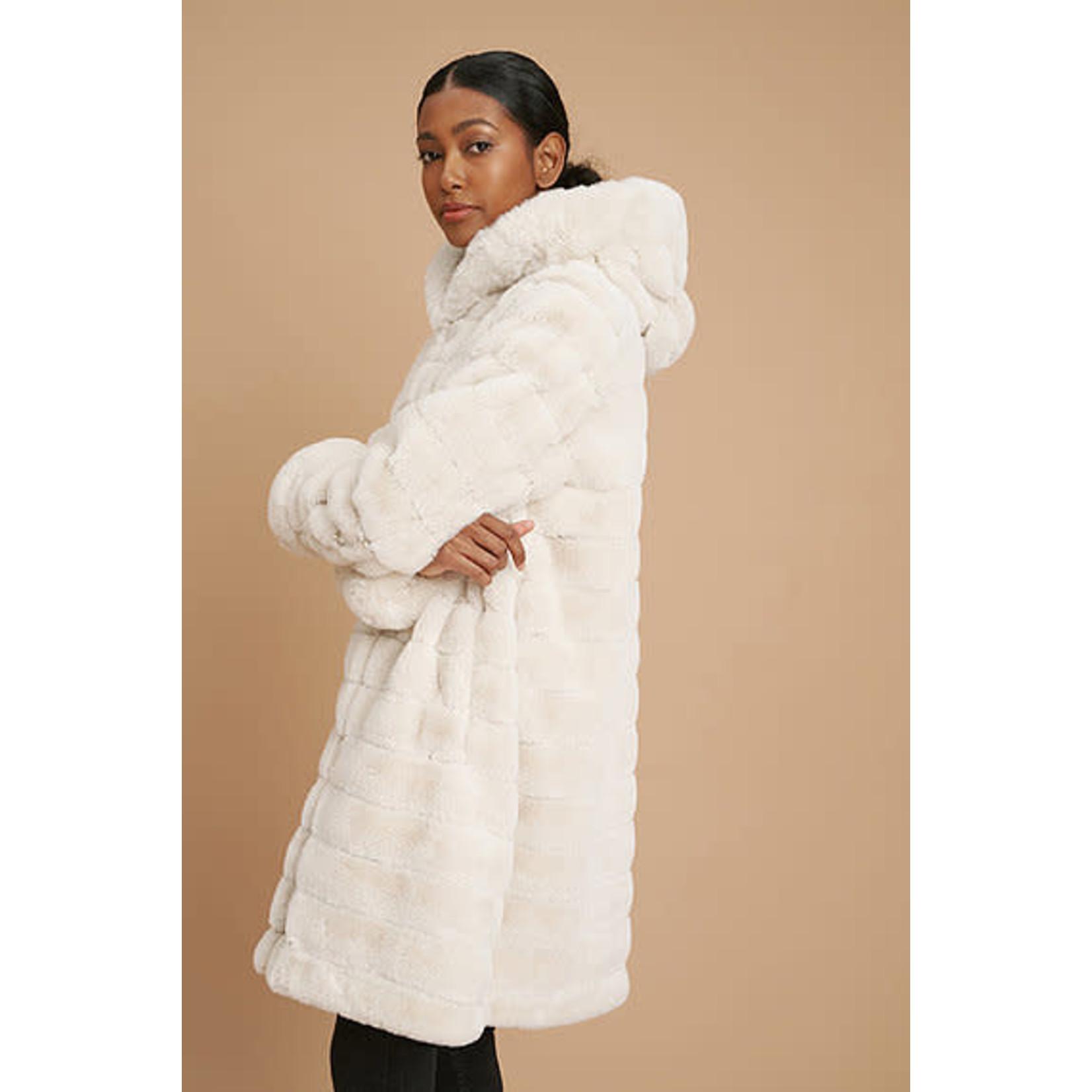 Reversible Faux Fur Coat in Metallic Cream