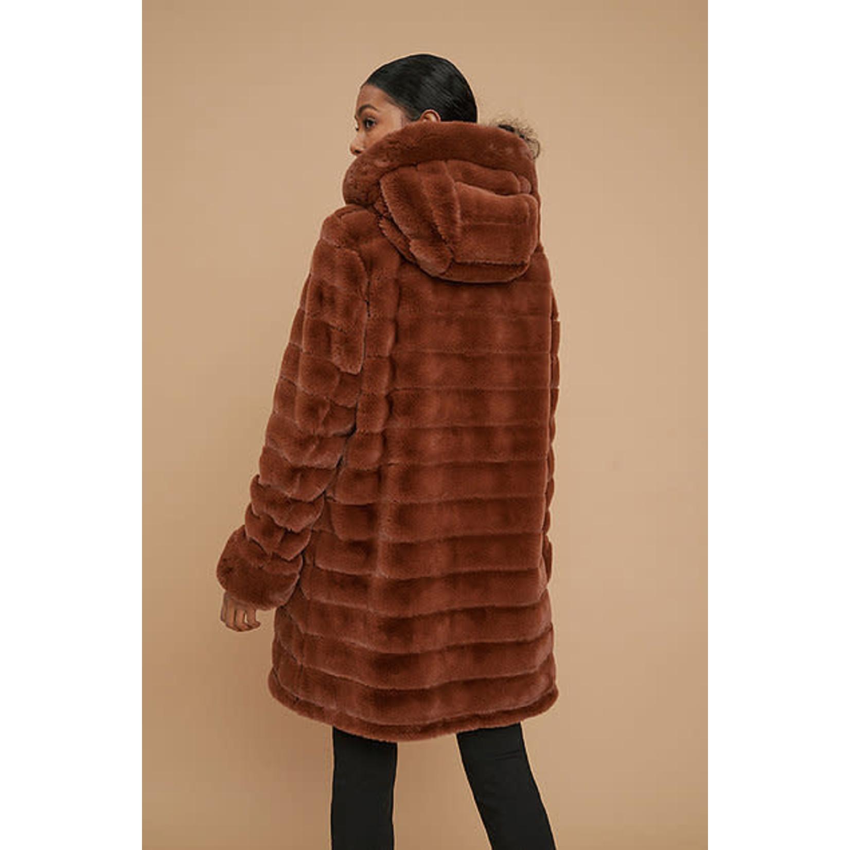 Reversible Faux Fur Coat in Tortoise Shell