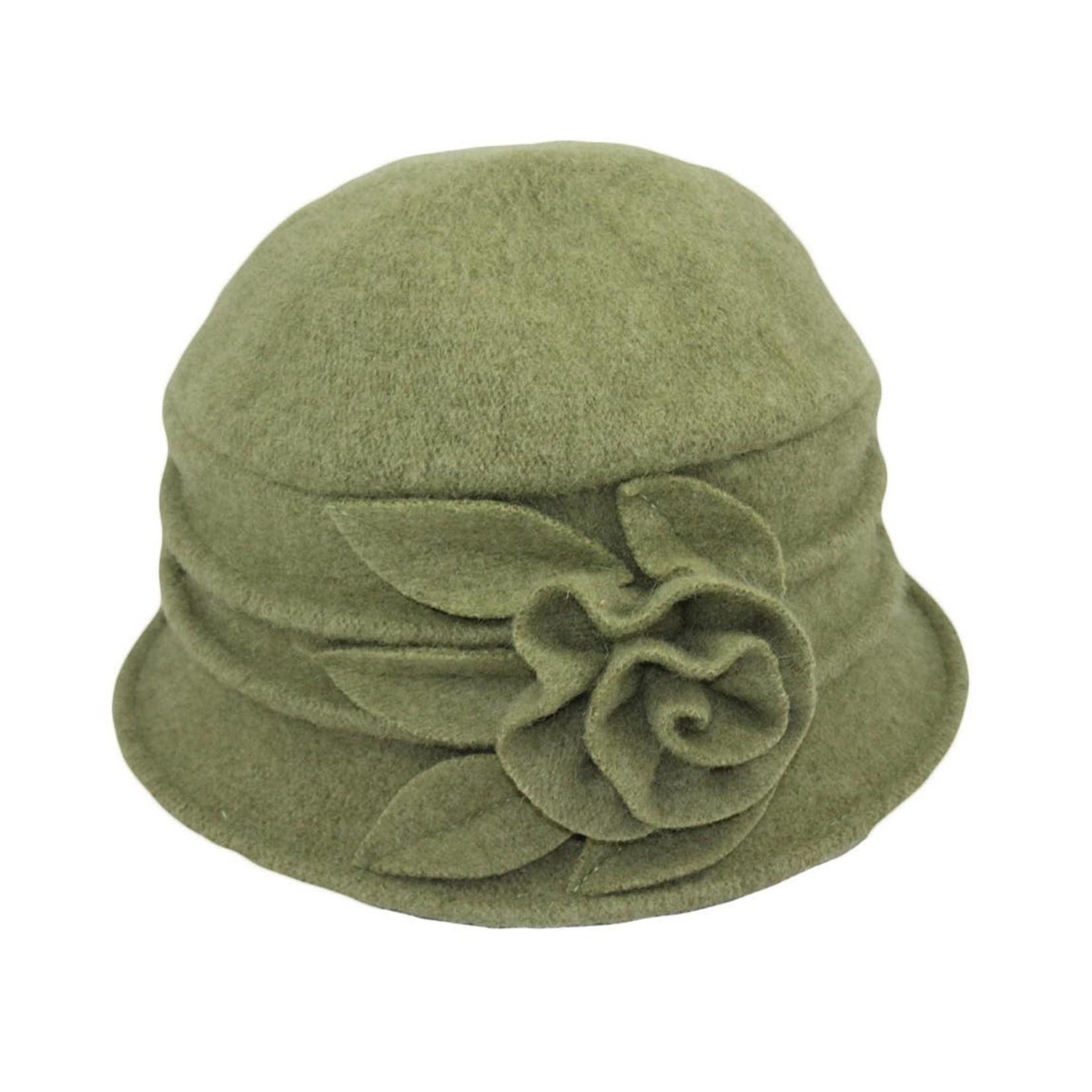 Jeanne Simmons Boiled Wool Bucket Hat w/ Ridges & Flower in Avocado