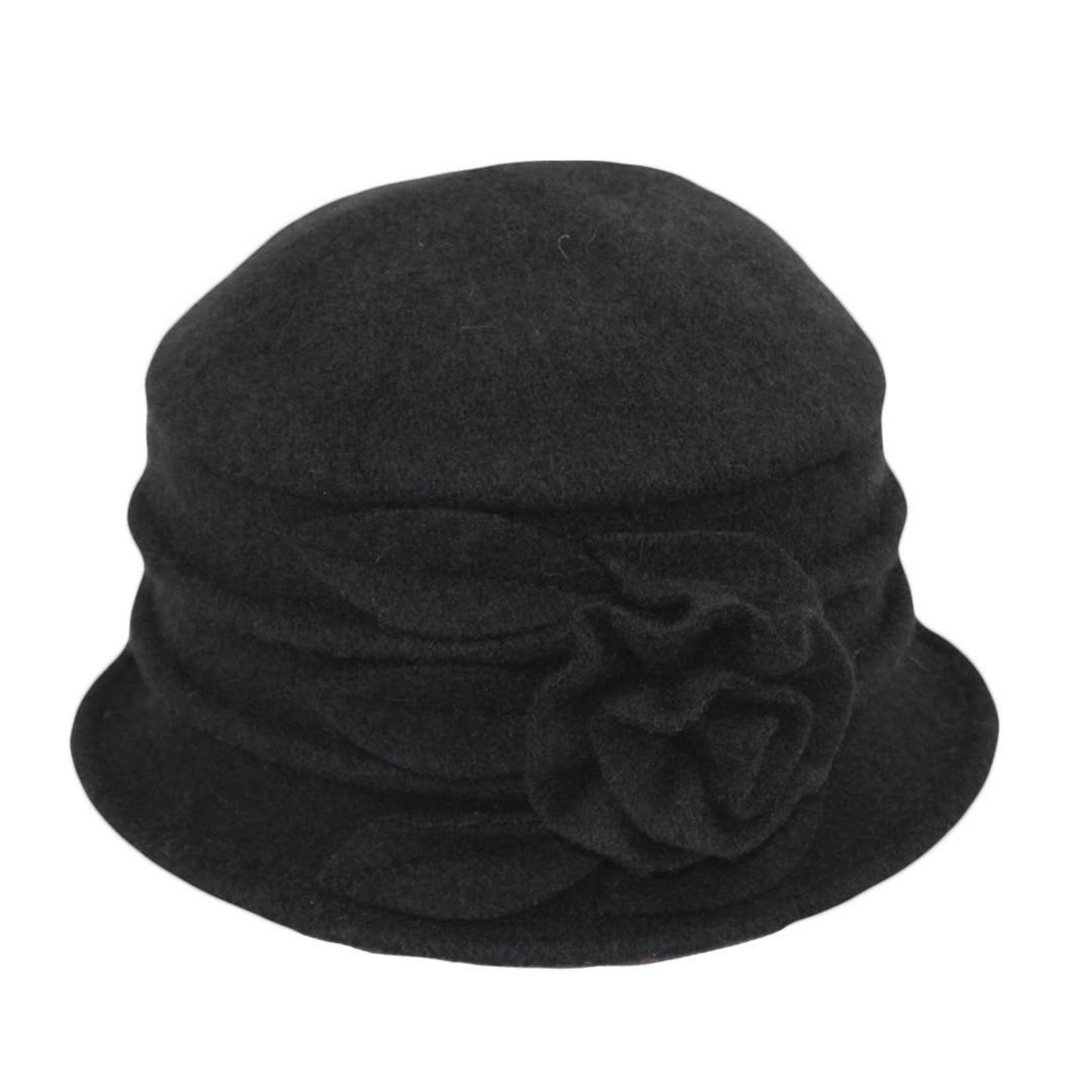 Jeanne Simmons Boiled Wool Bucket Hat w/ Ridges & Flower in Black