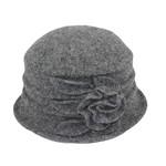 Jeanne Simmons Boiled Wool Bucket Hat w/ Ridges & Flower in Grey