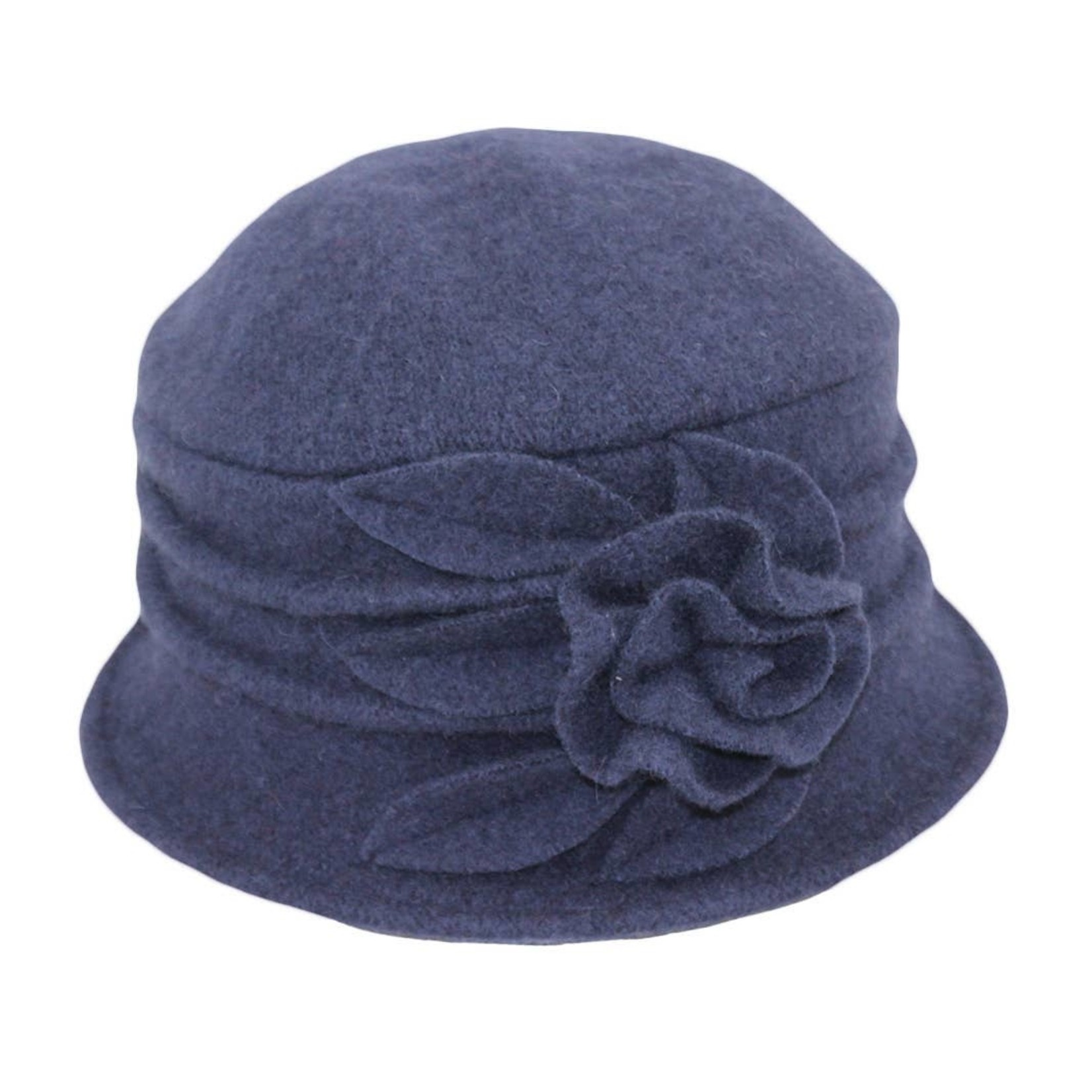 Jeanne Simmons Boiled Wool Bucket Hat w/ Ridges & Flower in Navy