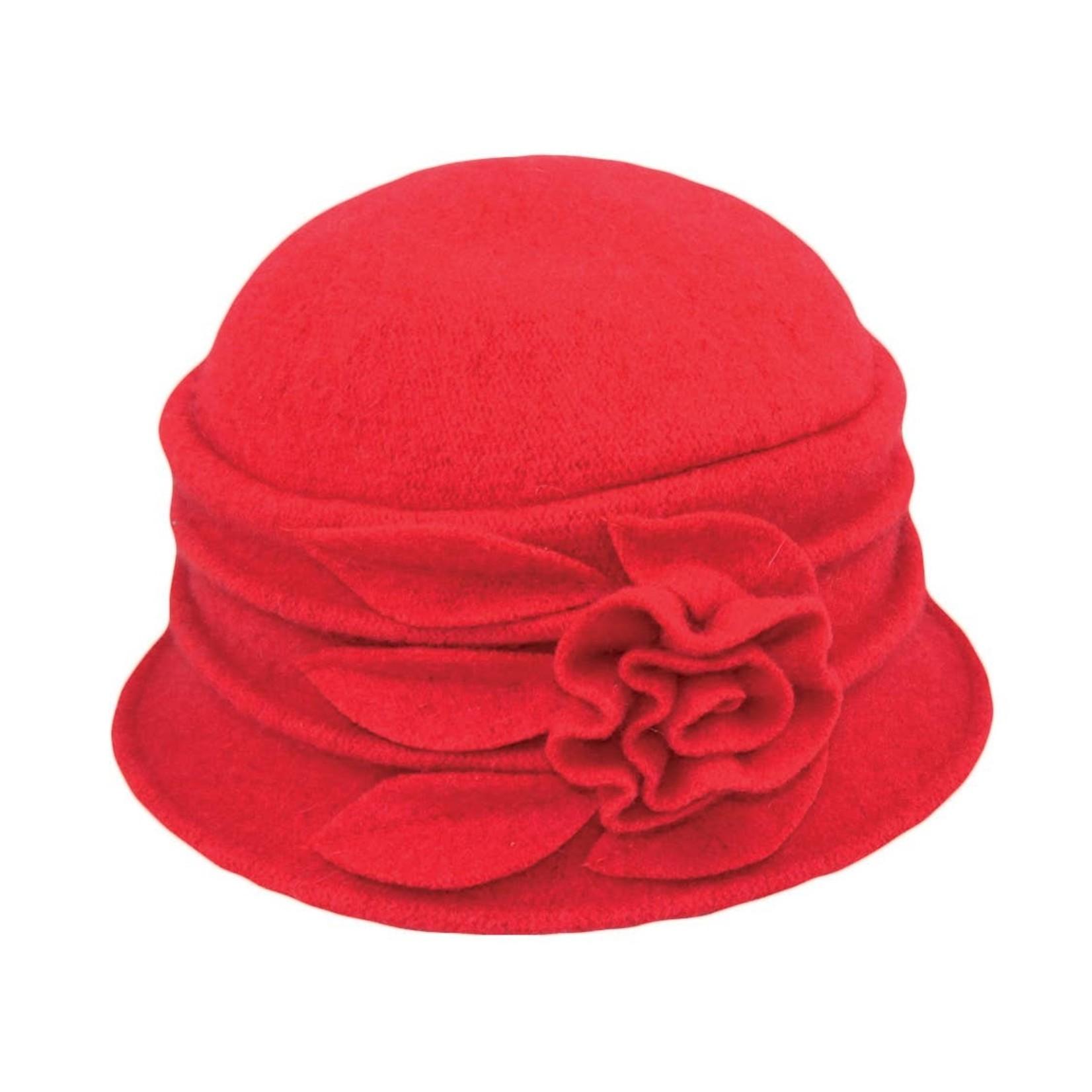 Jeanne Simmons Boiled Wool Bucket Hat w/ Ridges & Flower in Red