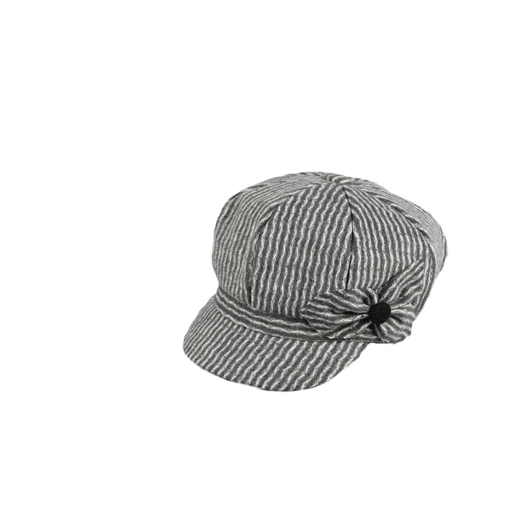 Jeanne Simmons 100% Polyester Engineer's Floppy Cap w/ Bow Detail - Grey and White