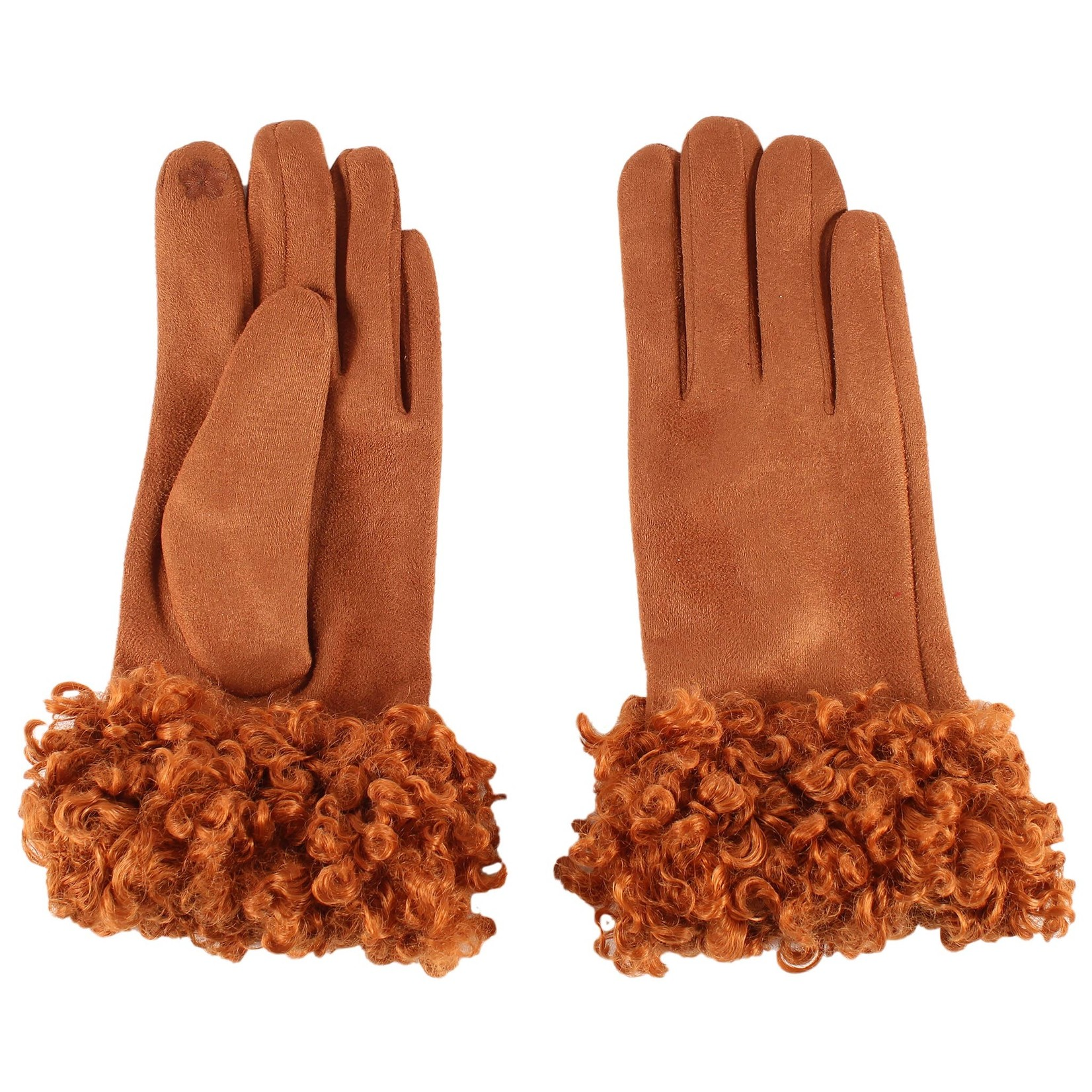 Jeanne Simmons Shearling Cuffed Faux Suede Texting Gloves in Bronze
