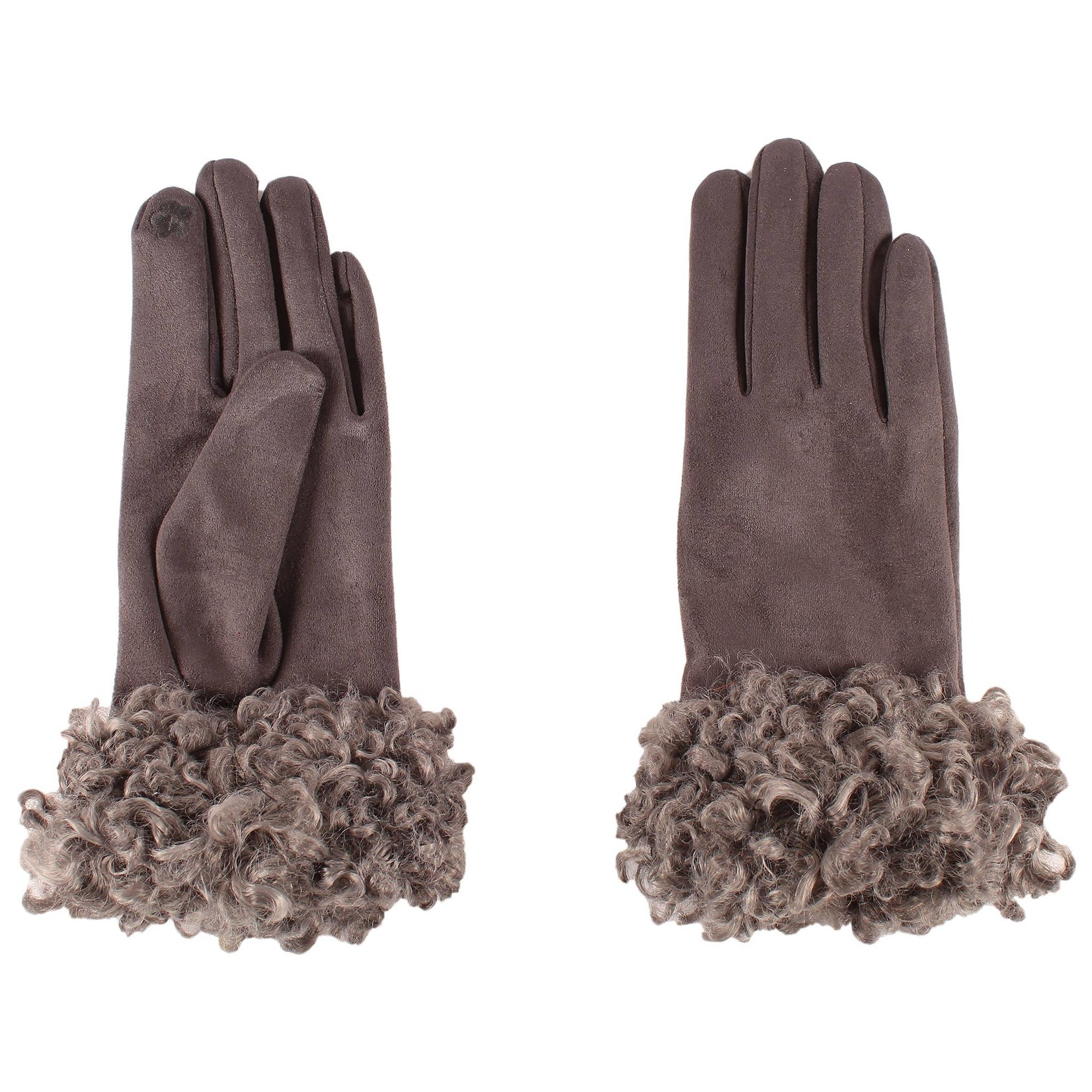Jeanne Simmons Shearling Cuffed Faux Suede Texting Gloves in Grey