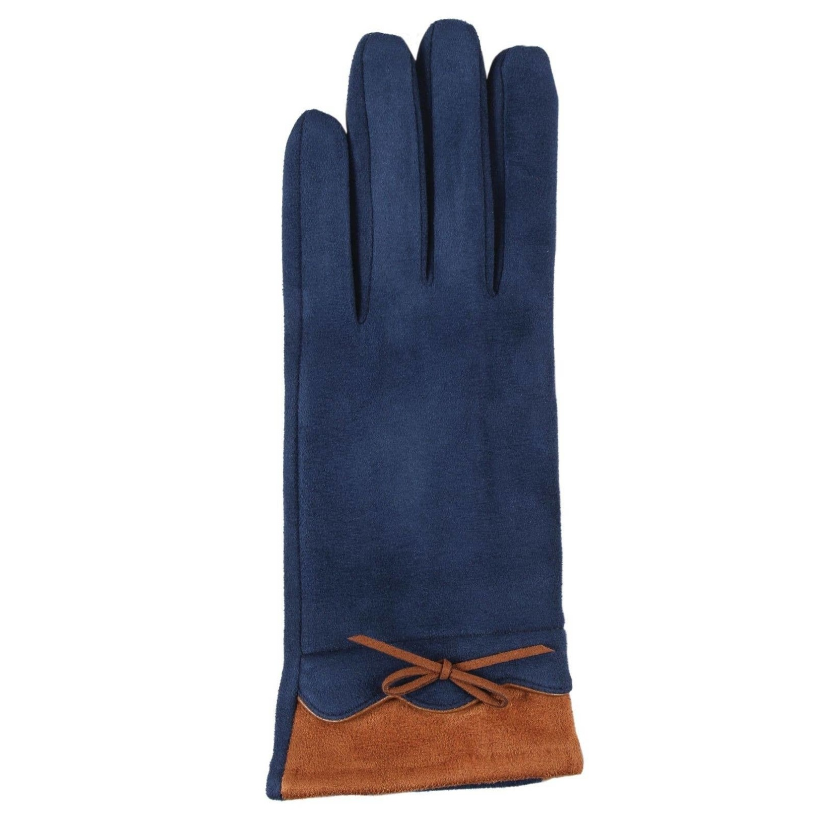 Jeanne Simmons Faux Suede w/ Bow Texting Gloves in Navy/Saddle