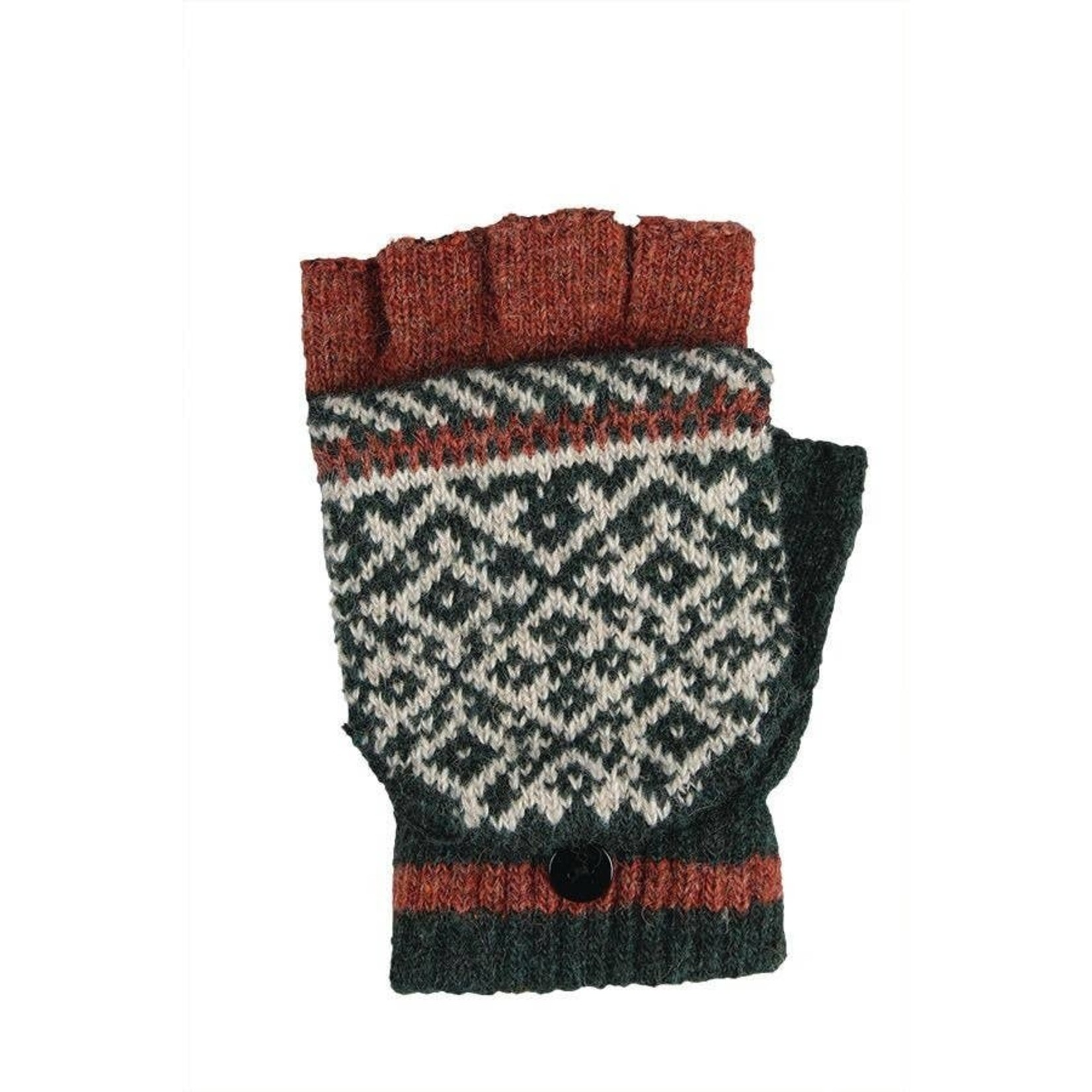 Jeanne Simmons Fingerless Glove w/ Mitten Cap in Rust/Blk Multi