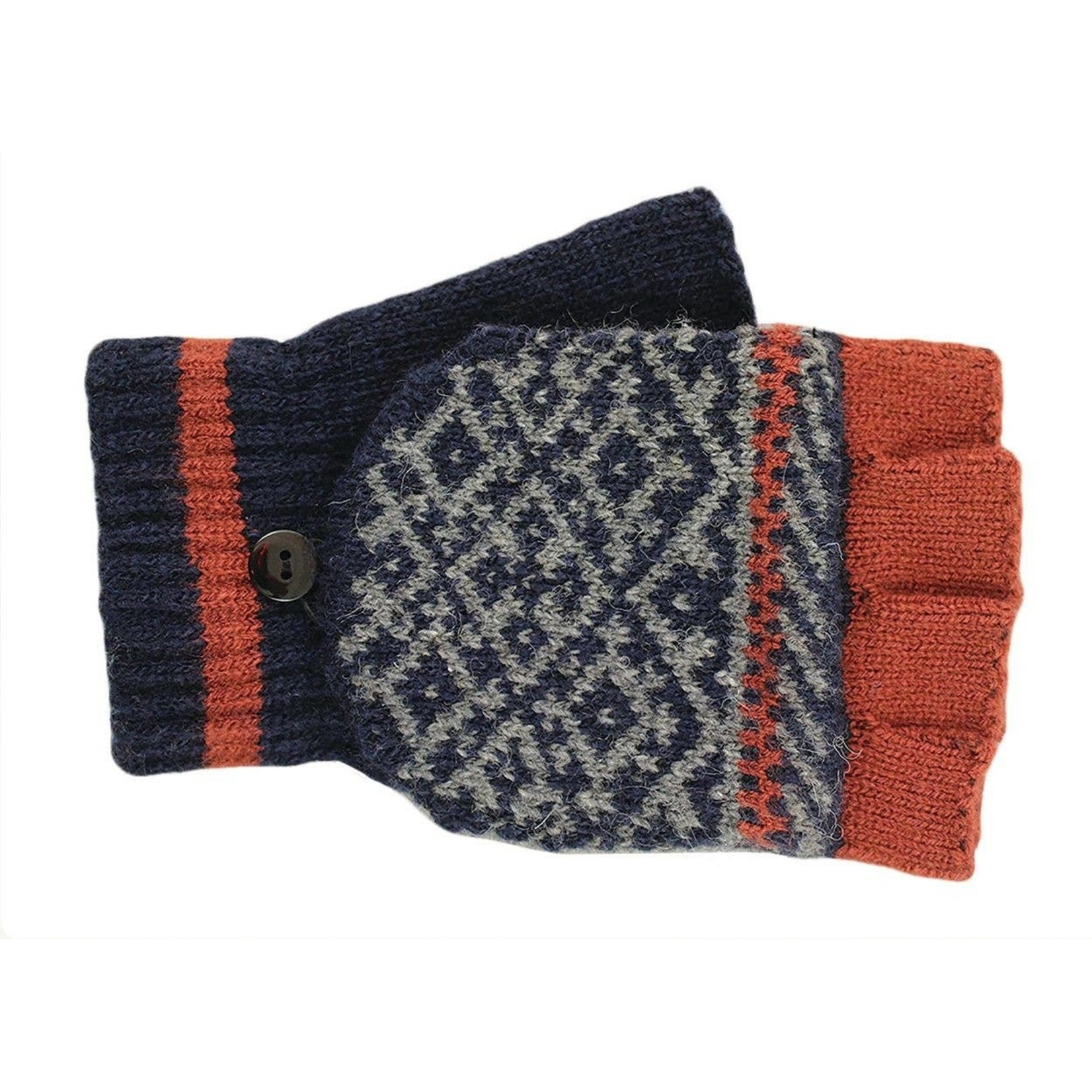 Jeanne Simmons Fingerless Glove w/ Mitten Cap in Navy/Rust Multi