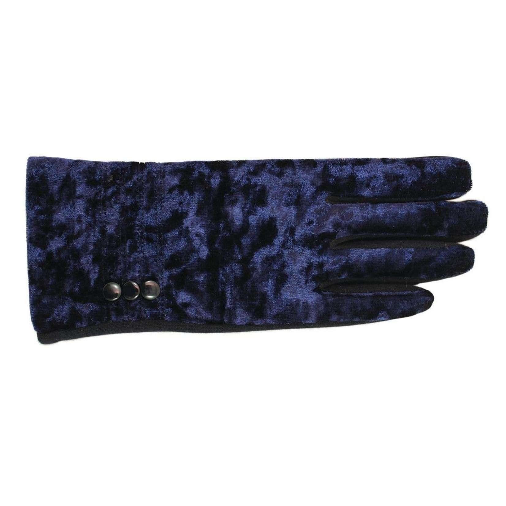 Jeanne Simmons Crushed Velvet & Jersey Texting Gloves in Blue
